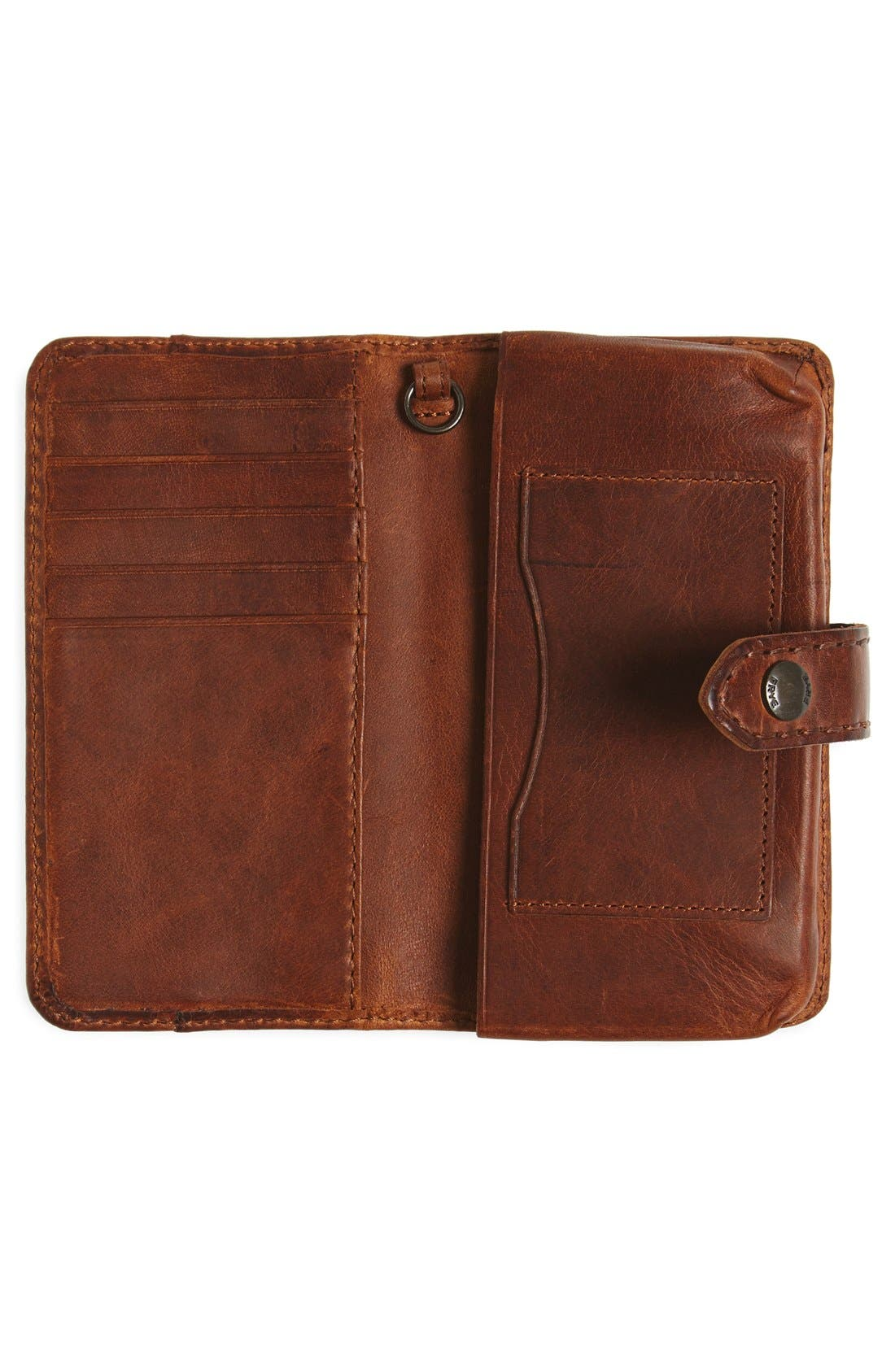 'Melissa' Leather Phone Wallet,                             Alternate thumbnail 4, color,                             Cognac