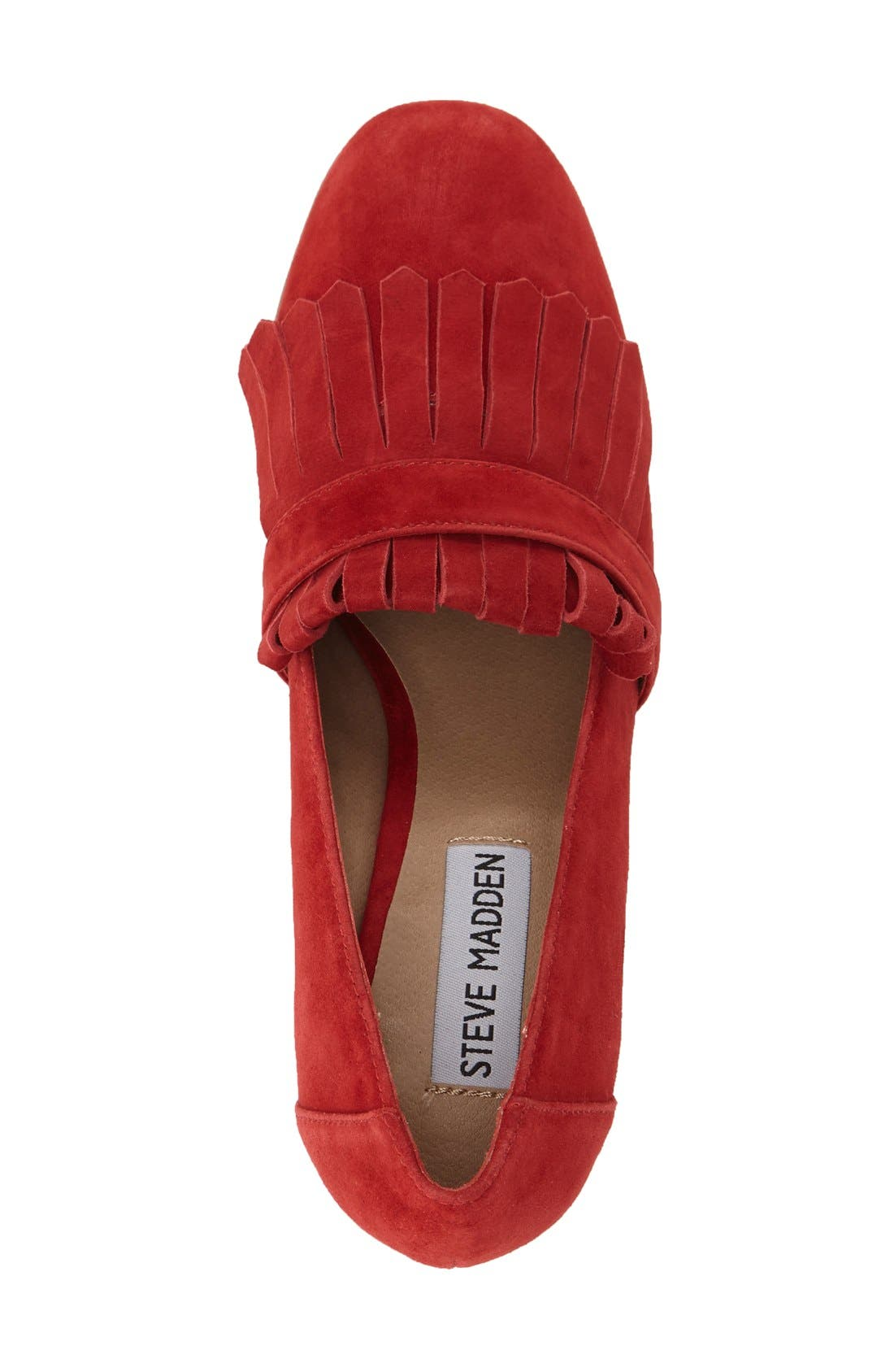 'Kate' Loafer Pumps,                             Alternate thumbnail 3, color,                             Red Suede