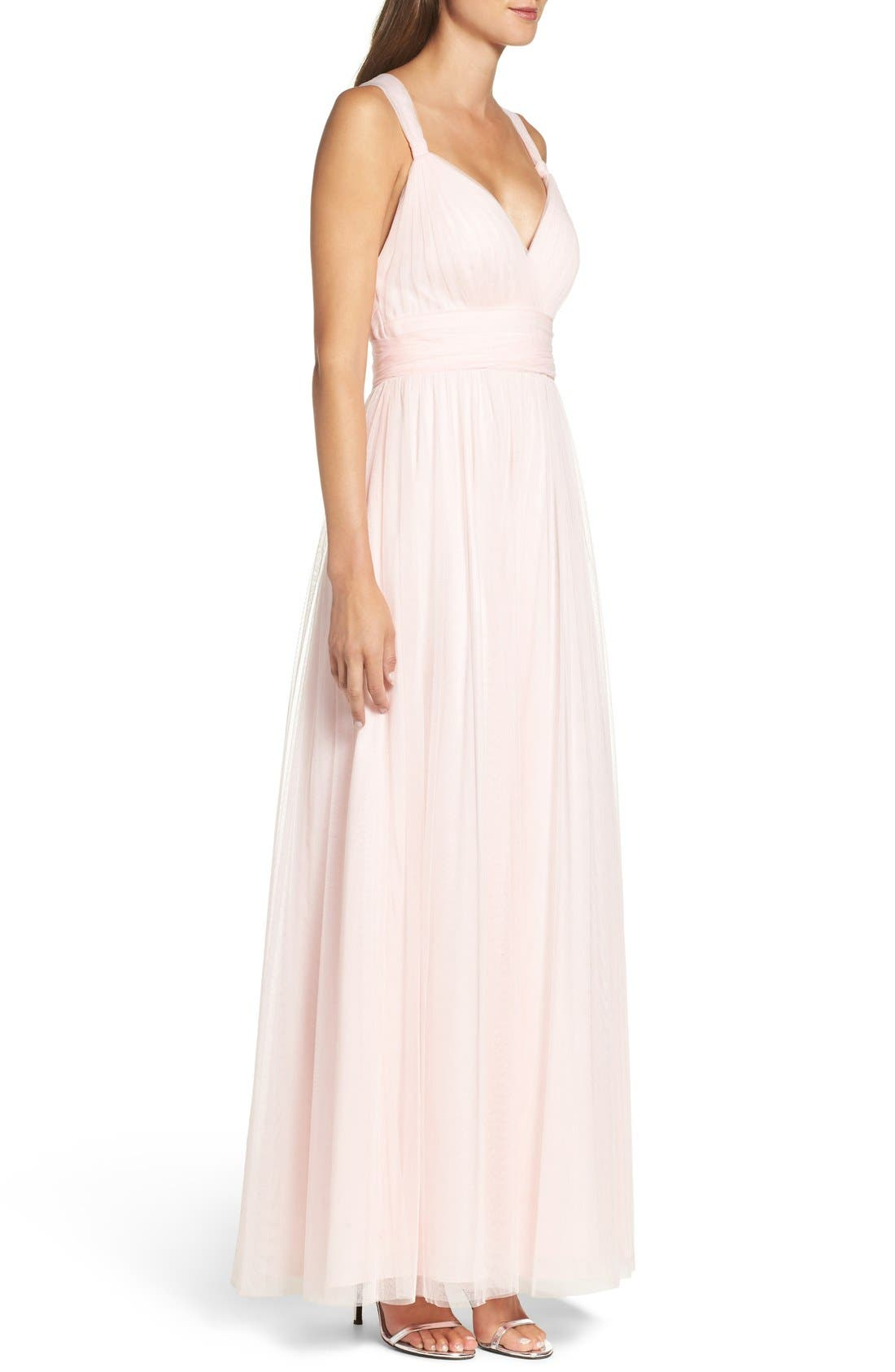 Deep V-Neck Chiffon & Tulle Gown,                             Alternate thumbnail 3, color,                             Ice Pink