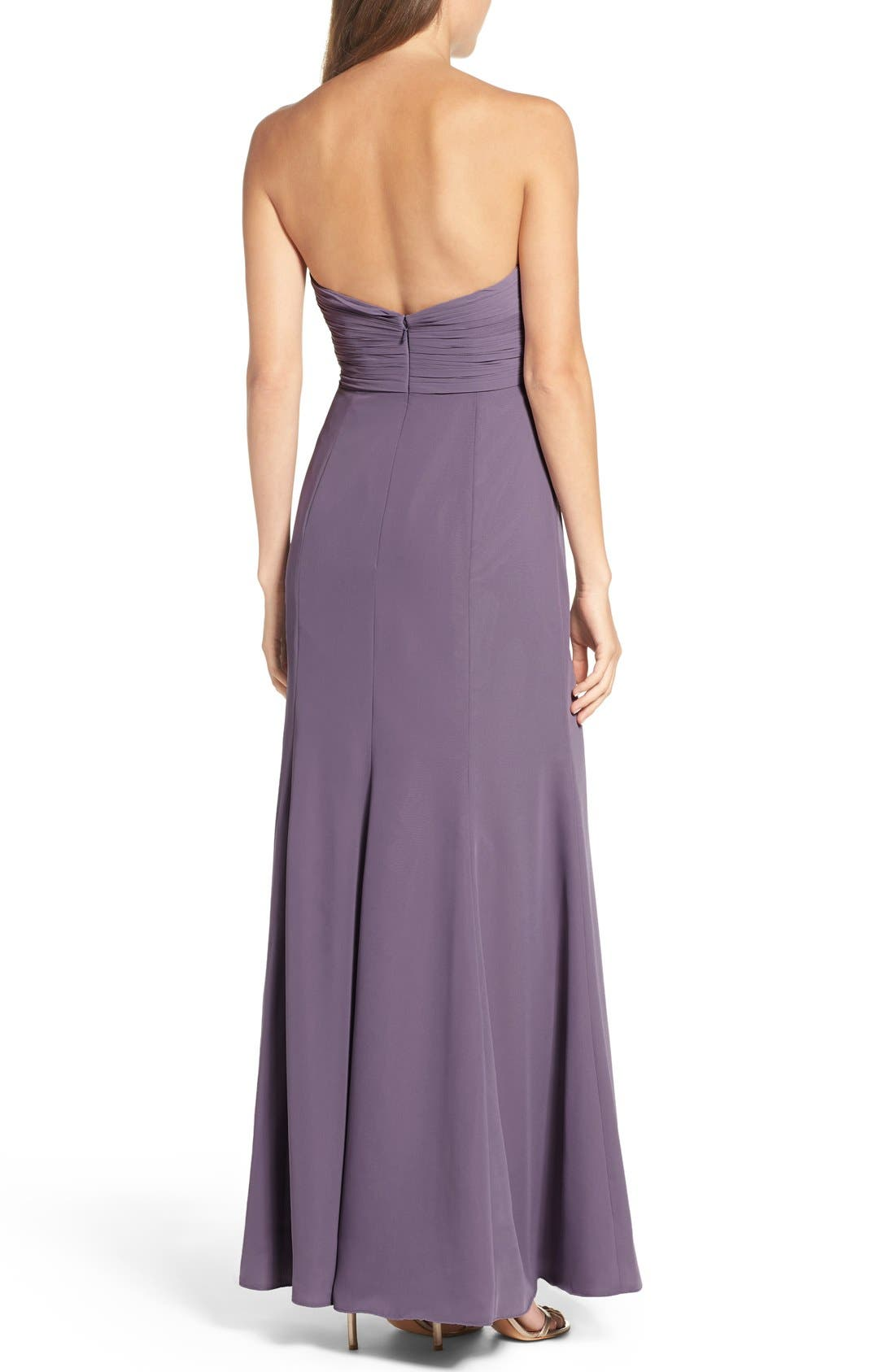 Alternate Image 2  - WTOO Strapless Chiffon Gown