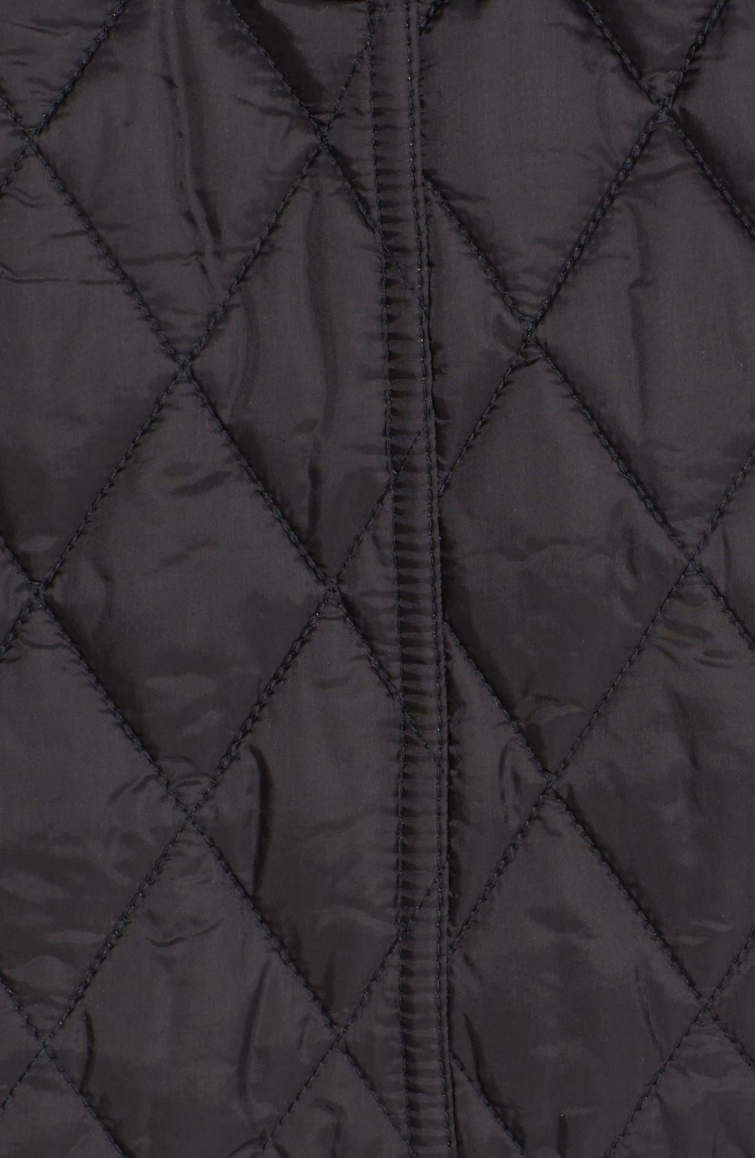 Finsbridge Short Quilted Jacket,                             Alternate thumbnail 3, color,                             Black