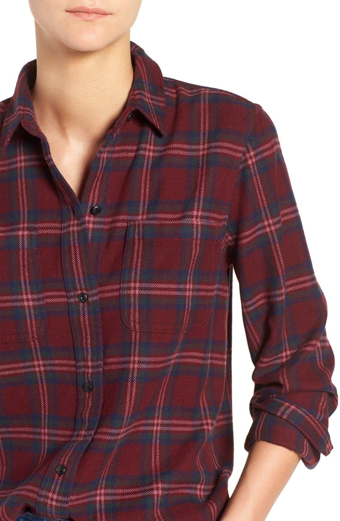 Shrunken Boyfriend Shirt,                             Alternate thumbnail 4, color,                             Dark Cabernet