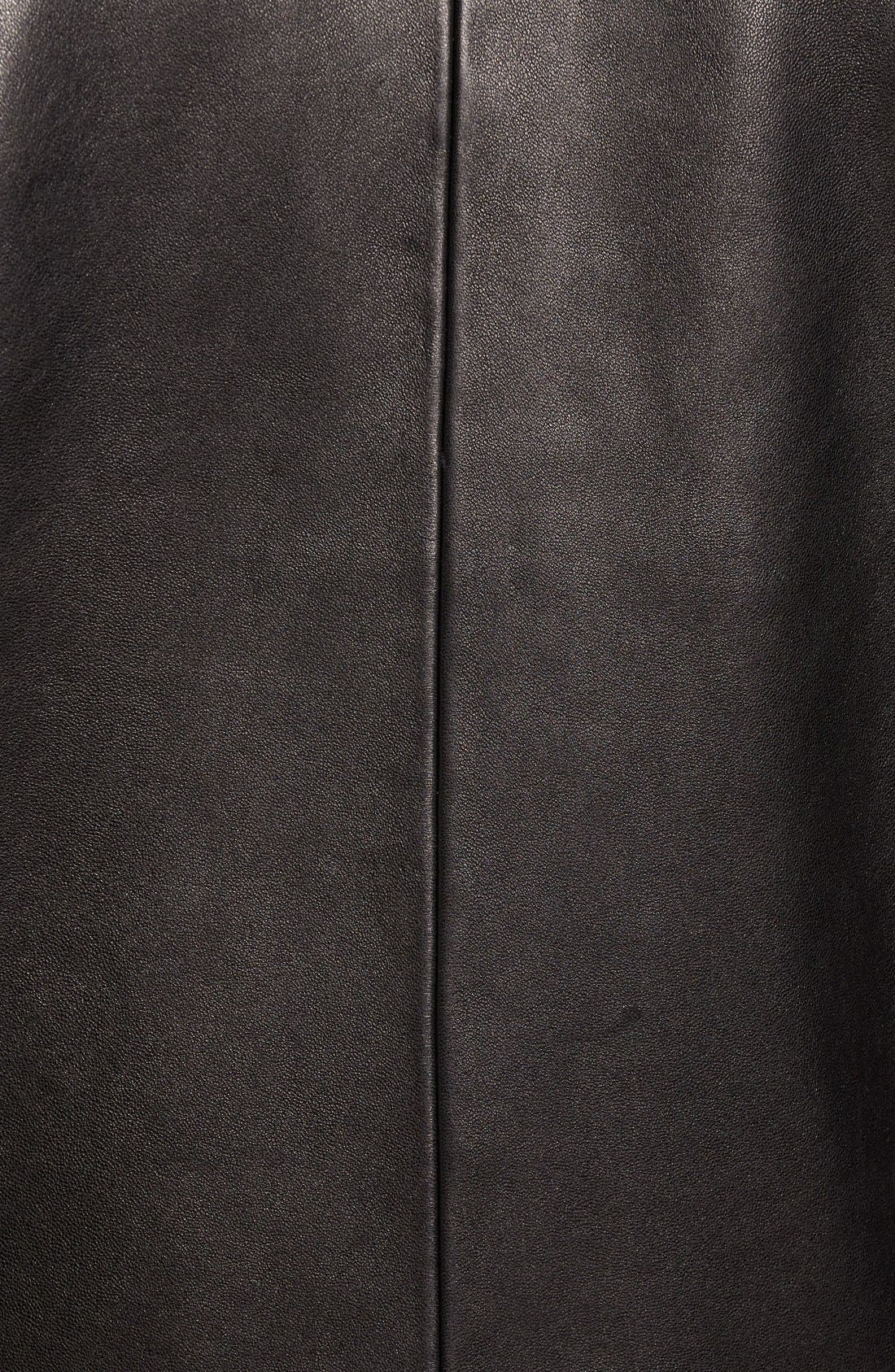 Leather Jacket with Removable Hooded Bib,                             Alternate thumbnail 5, color,                             Black
