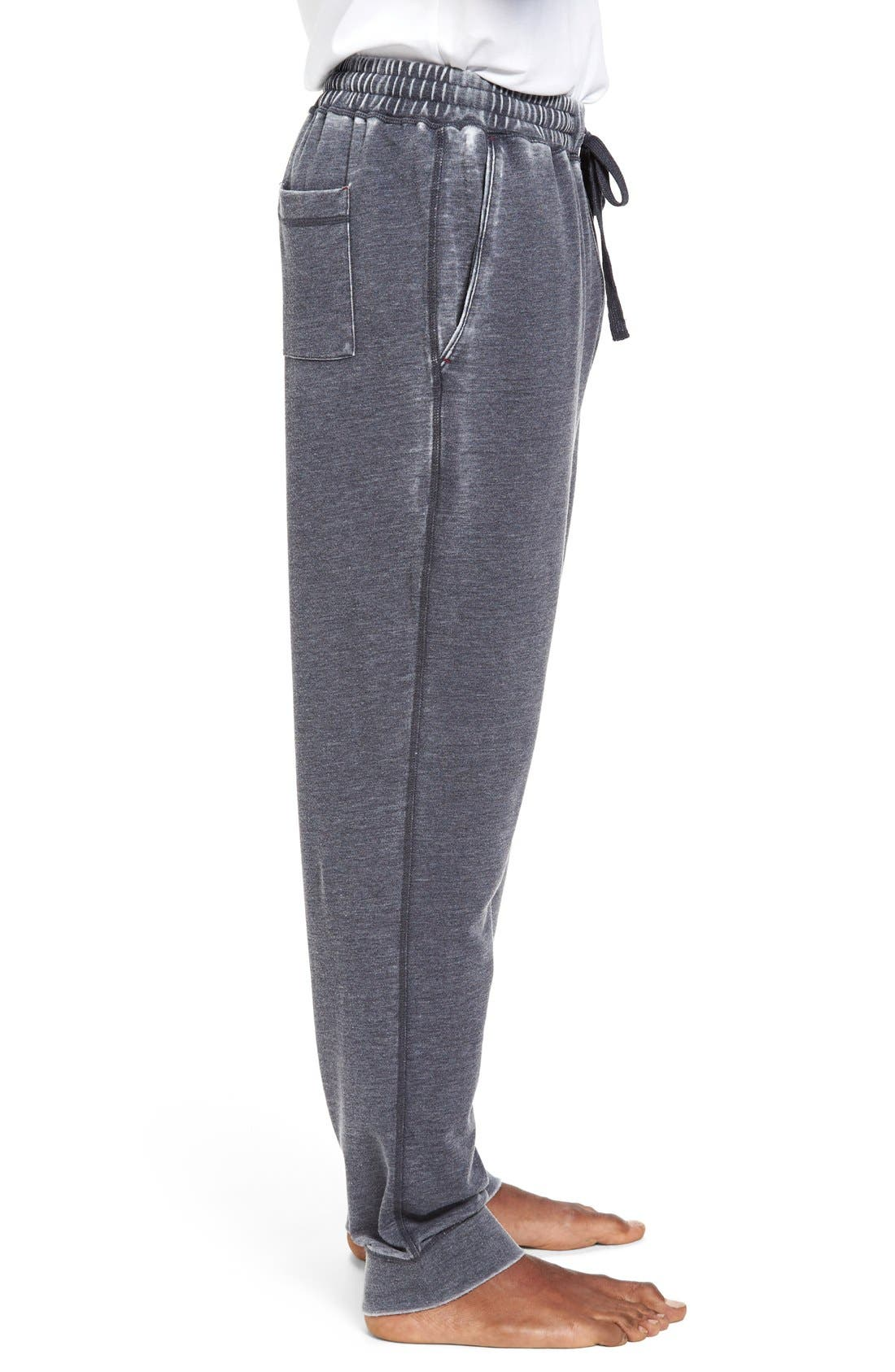 Washed Cotton Blend Terry Lounge Pants,                             Alternate thumbnail 3, color,                             Ink
