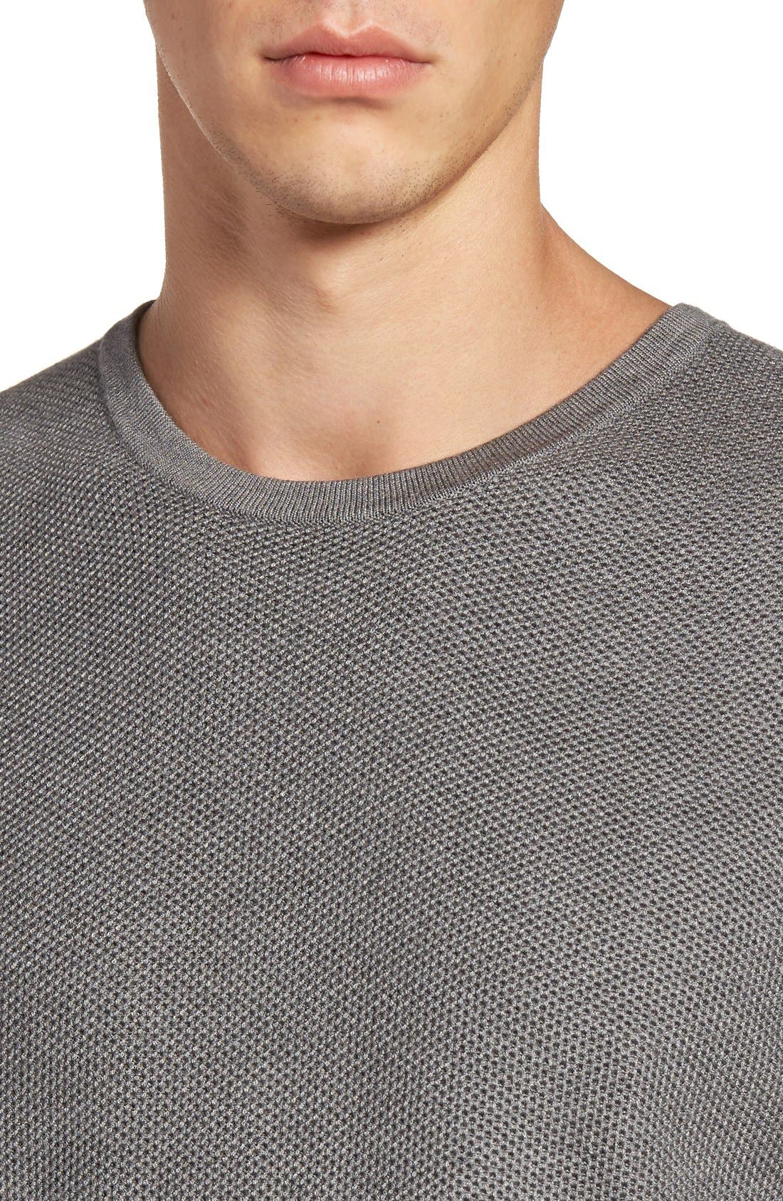 Honeycomb Stitch Crewneck Sweater,                             Alternate thumbnail 4, color,                             Grey Cloudy Heather