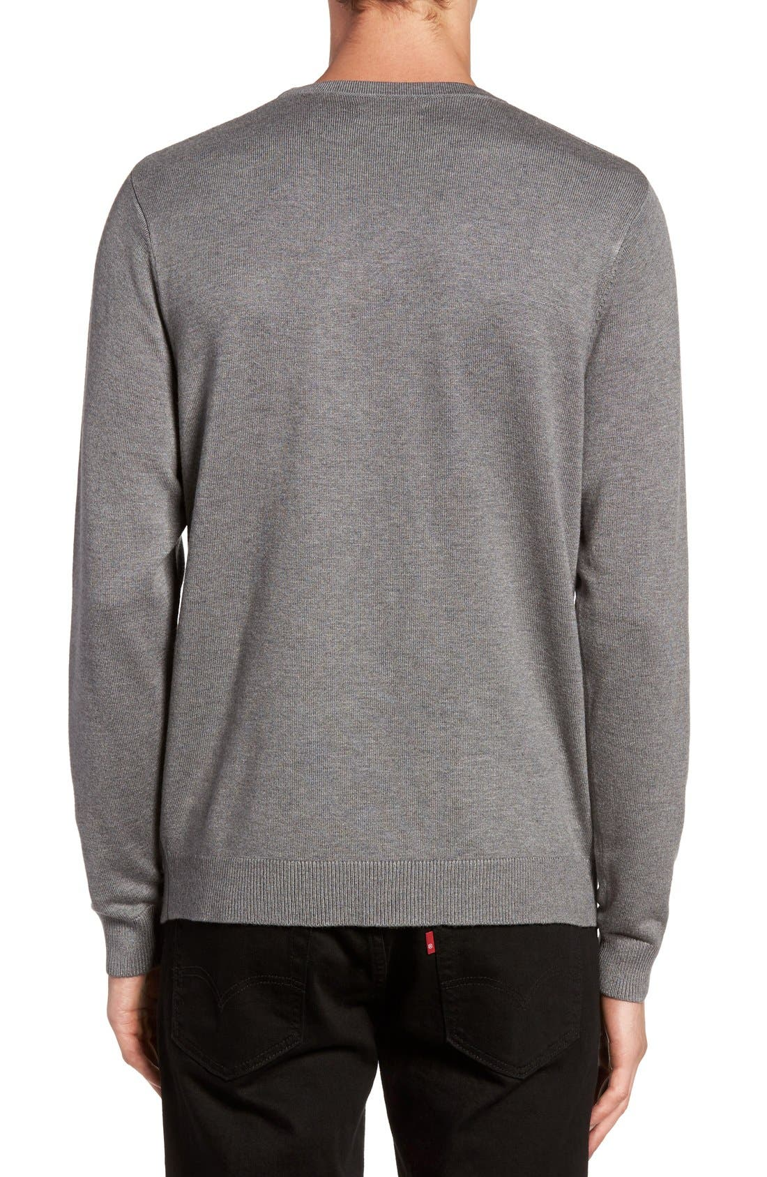 Honeycomb Stitch Crewneck Sweater,                             Alternate thumbnail 2, color,                             Grey Cloudy Heather