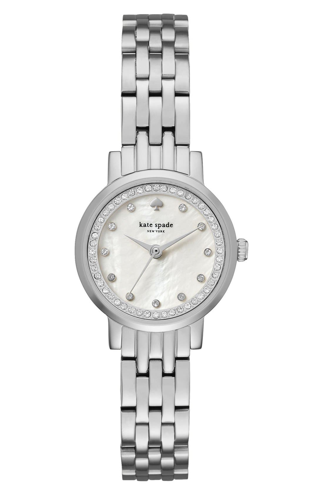 monterey crystal dial bracelet watch, 24mm,                             Main thumbnail 1, color,                             Silver/ Mother Of Pearl