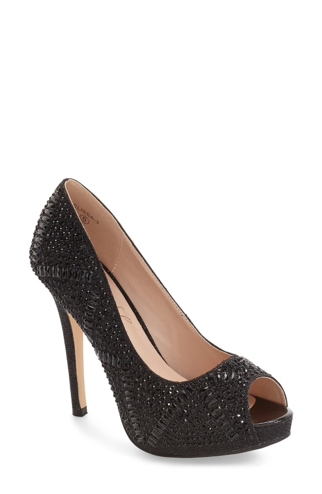 Elissa - 3 Peep Toe Pump,                             Main thumbnail 1, color,                             Black