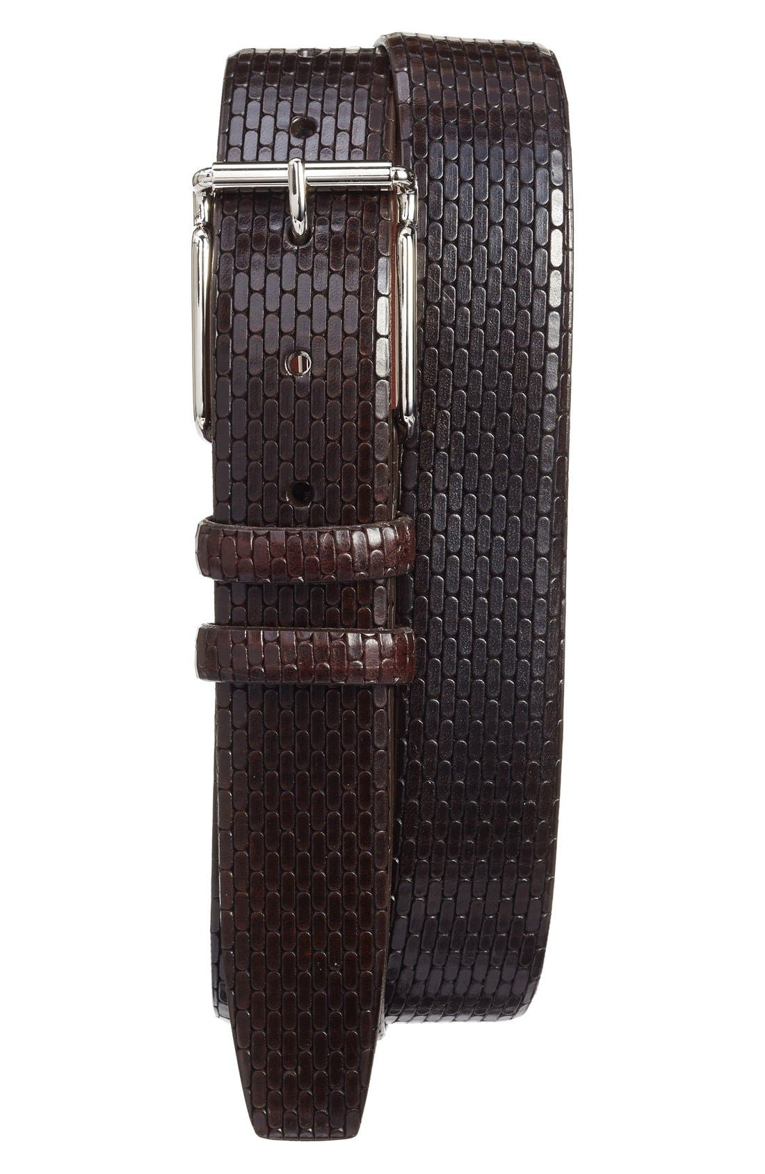 Main Image - Torino Belts Geometric Calfskin Belt