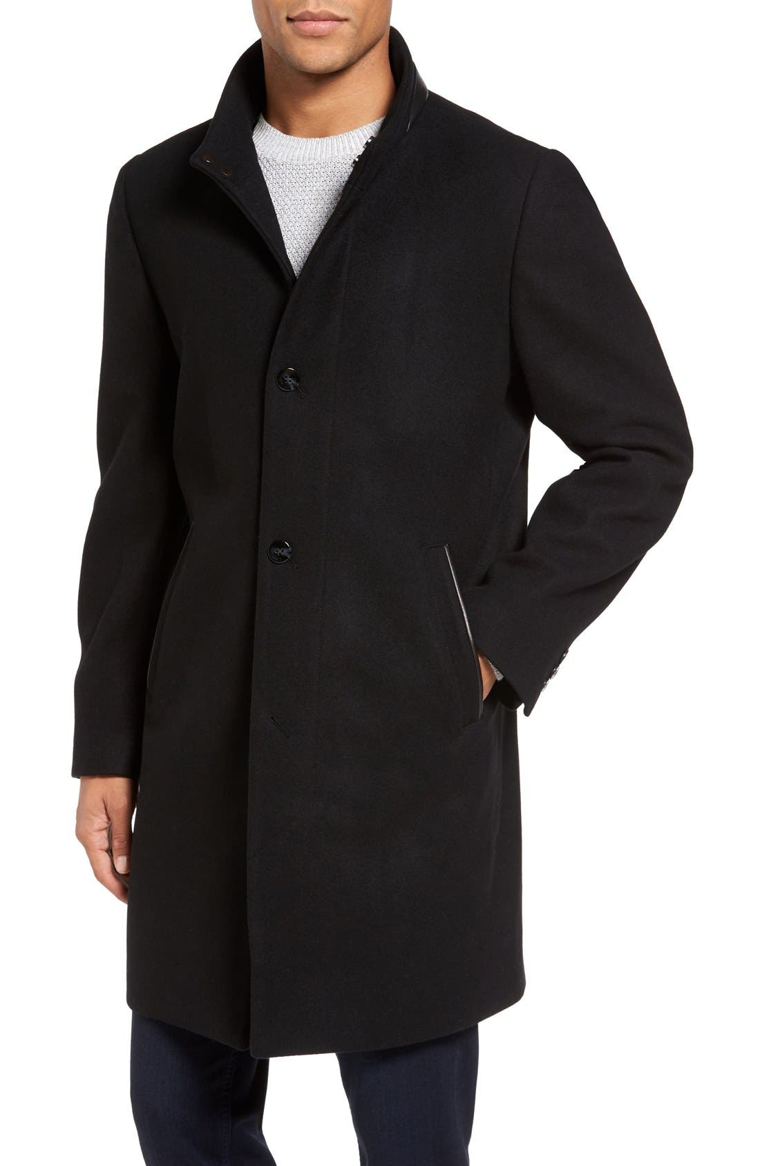 Hooded Campus Coat,                             Alternate thumbnail 4, color,                             Black