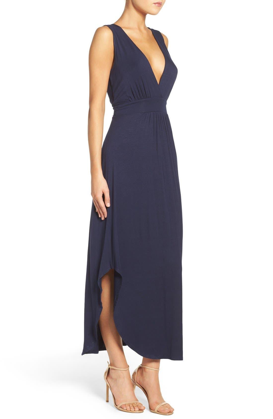 V-Neck Jersey Dress,                             Alternate thumbnail 3, color,                             Indigo