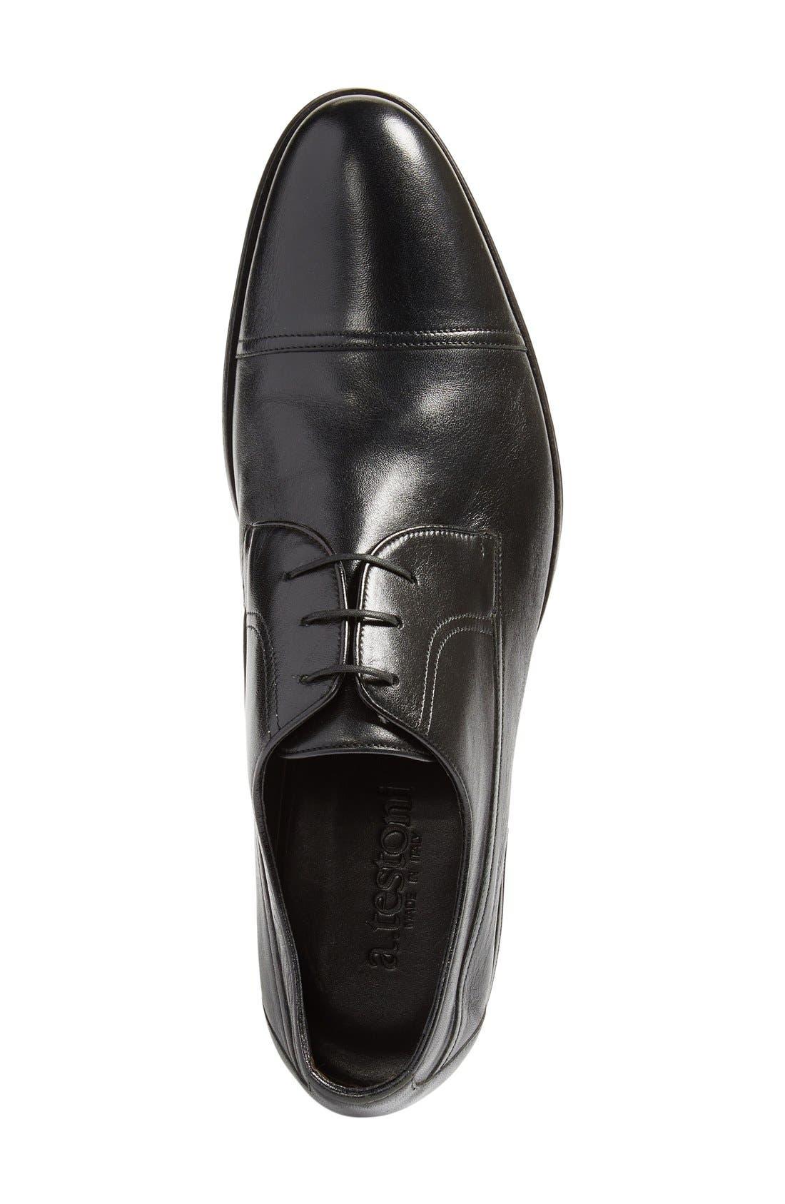 Cap Toe Derby,                             Alternate thumbnail 3, color,                             Black Leather