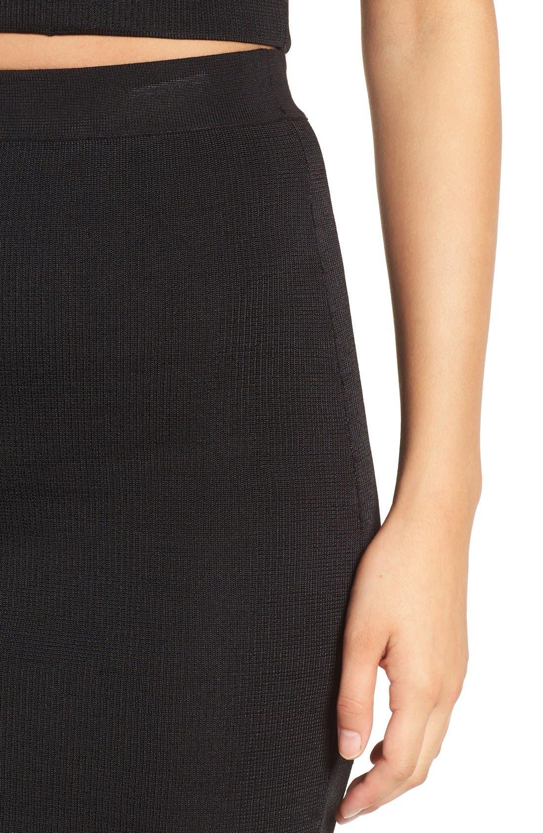 Ribbed Skirt,                             Alternate thumbnail 5, color,                             Black
