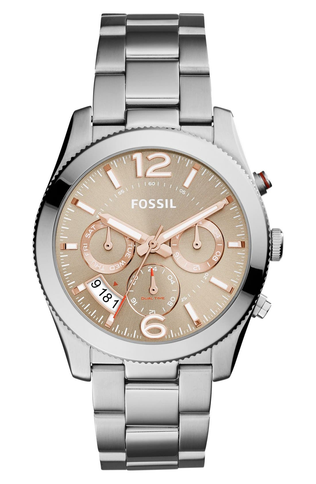 'Perfect Boyfriend' Multifunction Bracelet Watch, 39mm,                             Main thumbnail 1, color,                             Silver/ Taupe