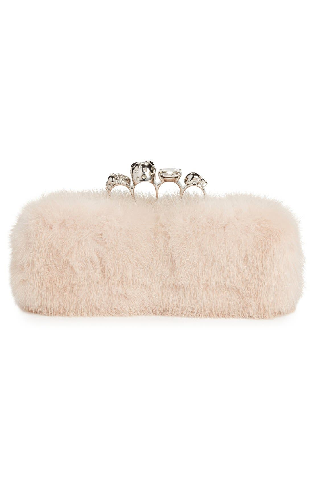 Alternate Image 2  - Alexander McQueen Knuckle Clasp Genuine Mink Fur Box Clutch