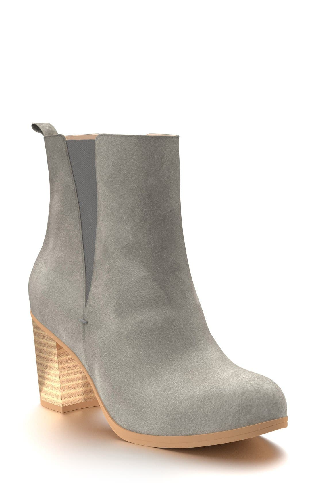 Block Heel Chelsea Boot,                             Main thumbnail 1, color,                             Dark Gray Leather