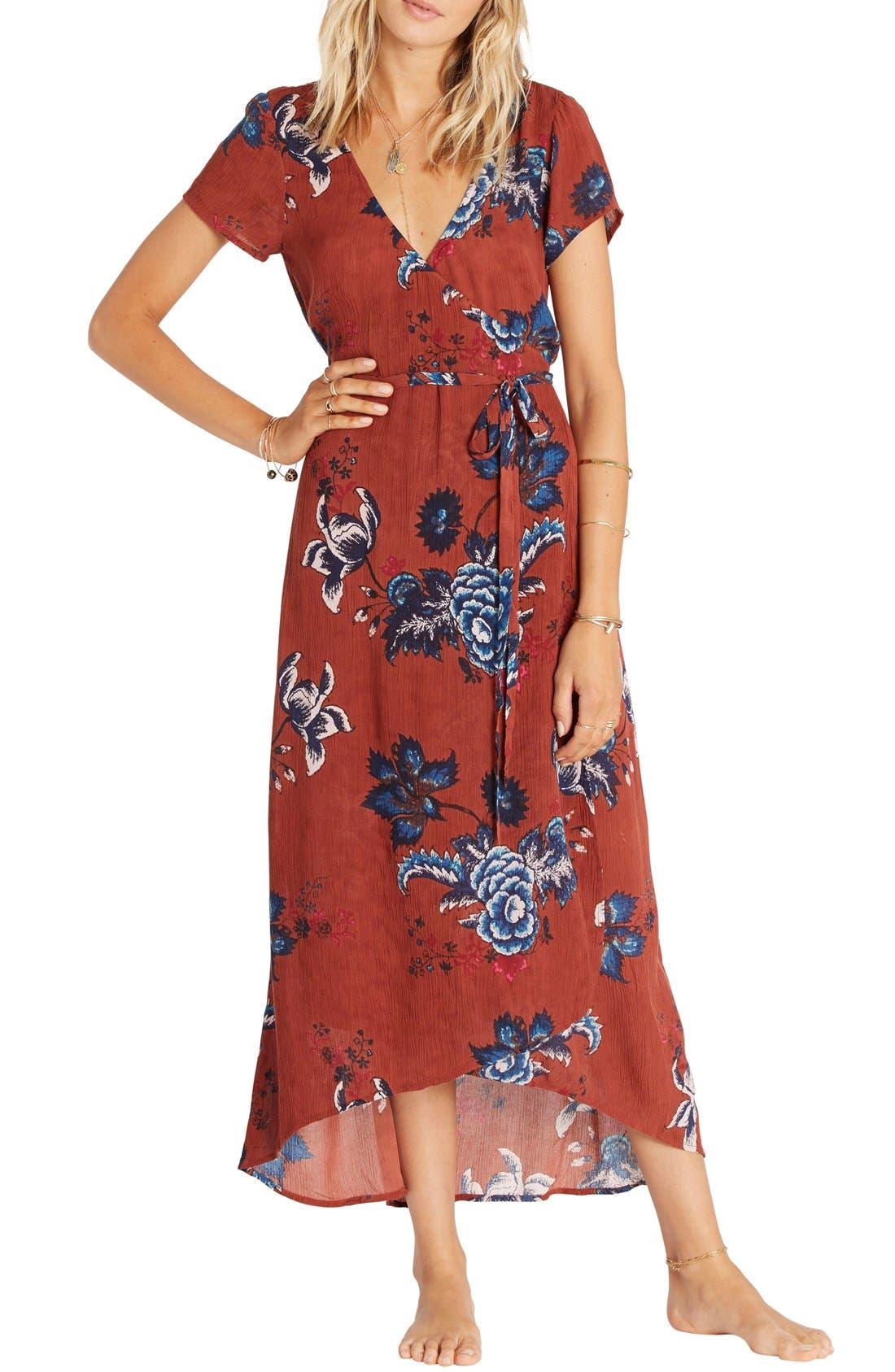 Main Image - Billabong Wrap Me Up Floral Print Maxi Dress