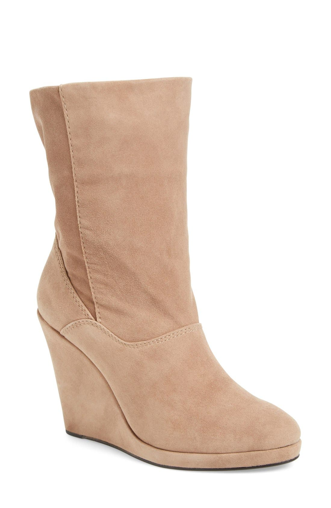 M4D3 Melanie Wedge Boot,                         Main,                         color, Taupe Leather