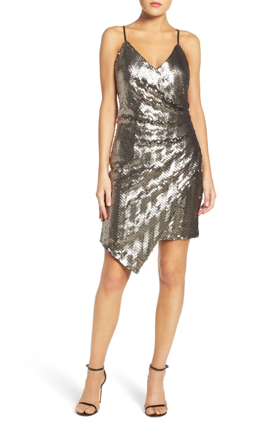 Alternate Image 4  - Adelyn Rae Asymmetrical Sequin Faux-Wrap Dress
