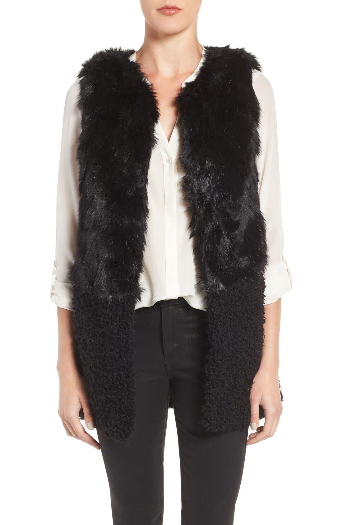 Faux Fur Vest,                         Main,                         color, Black Combo