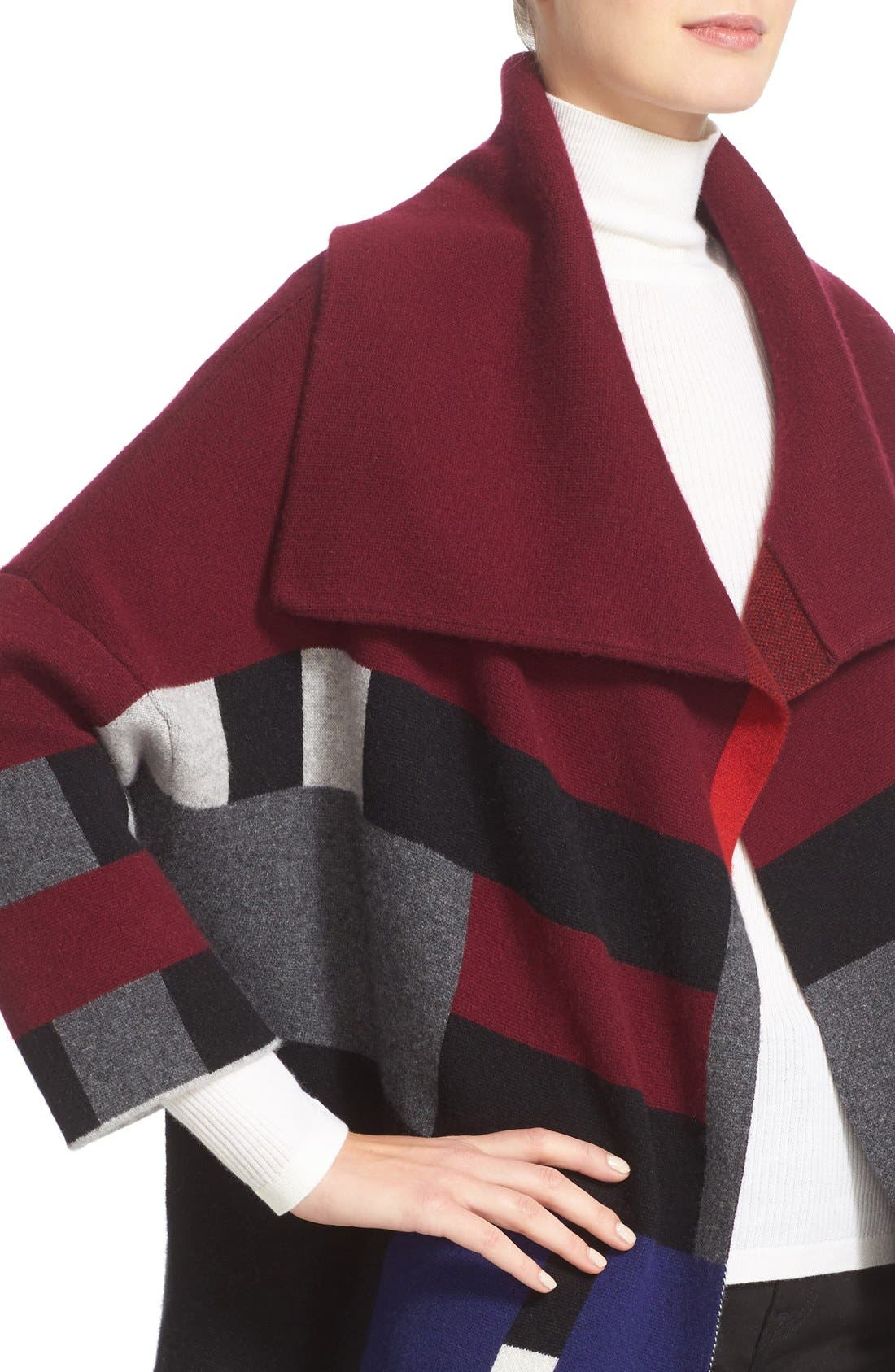 Alternate Image 6  - Burberry Halladale Check Knit Wool & Cashmere Wrap