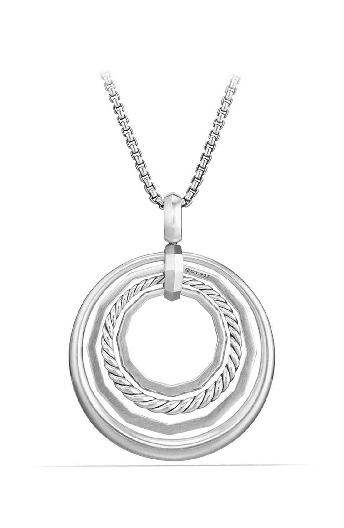 Stax Diamond Pendant Necklace,                             Alternate thumbnail 3, color,                             Silver