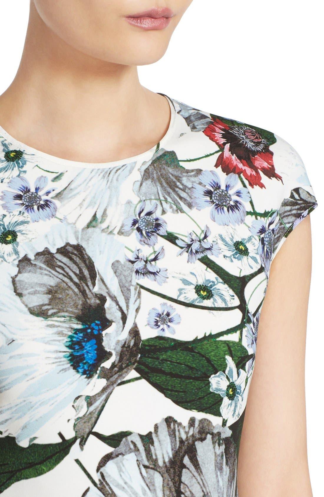 Darlna Floral Print Neoprene Flutter Hem Dress,                             Alternate thumbnail 5, color,                             White/ Red