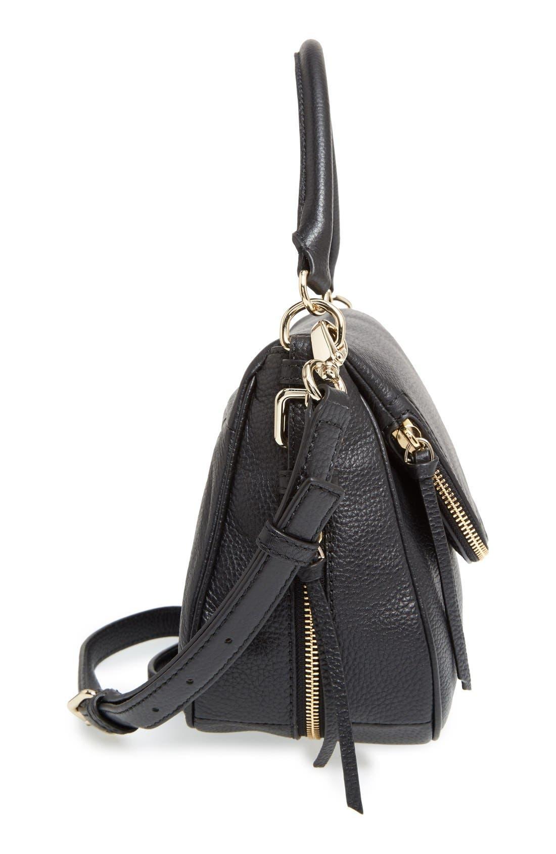 cobble hill - deva leather crossbody bag,                             Alternate thumbnail 5, color,                             Black