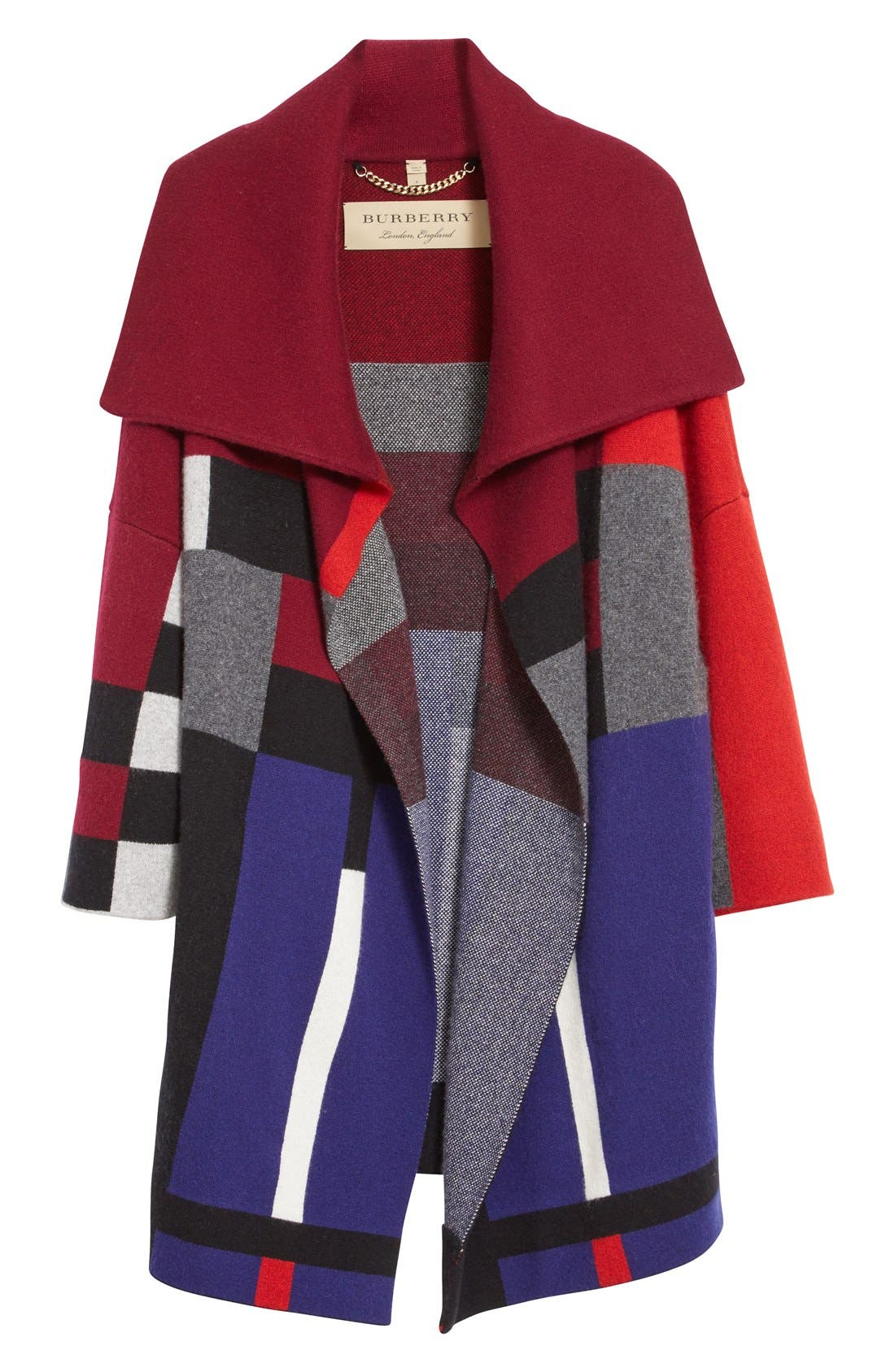 Alternate Image 4  - Burberry Halladale Check Knit Wool & Cashmere Wrap