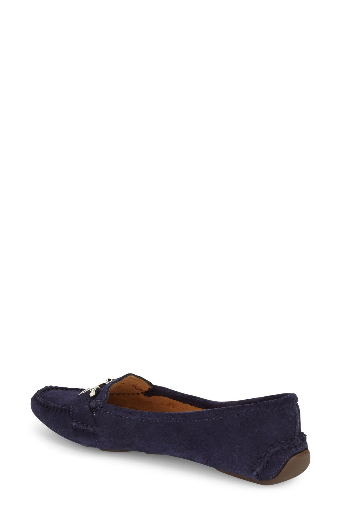 'Carrie' Loafer,                             Alternate thumbnail 2, color,                             Navy Suede
