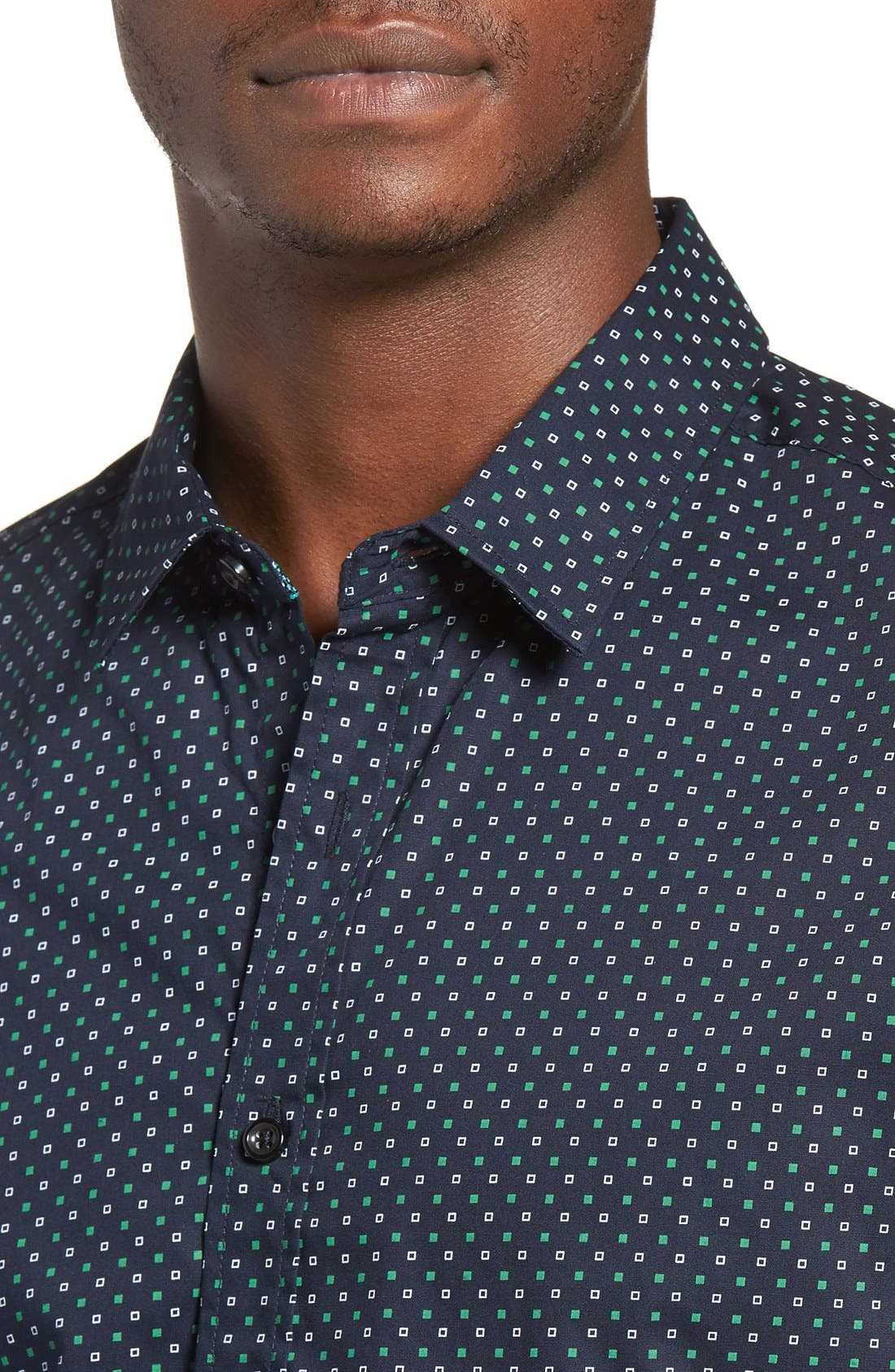 Chameleon Trim Fit Print Woven Shirt,                             Alternate thumbnail 4, color,                             Green