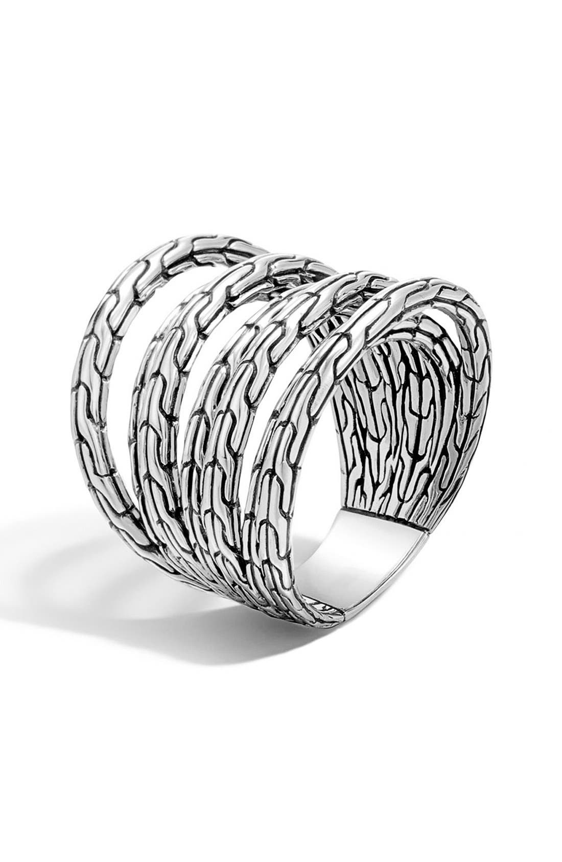 'Classic Chain' Multi-Row Ring,                         Main,                         color, Silver