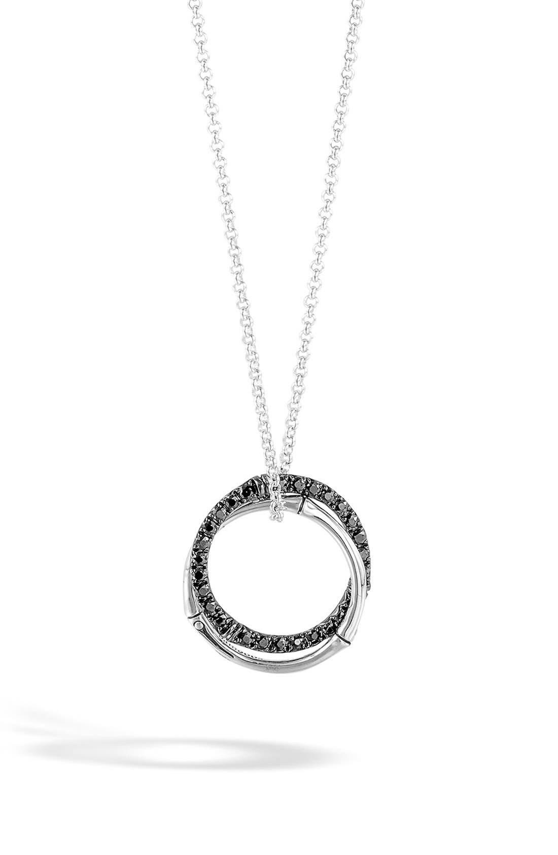 'Bamboo - Lava' Circle Pendant Necklace,                         Main,                         color, Silver/ Black Sapphire