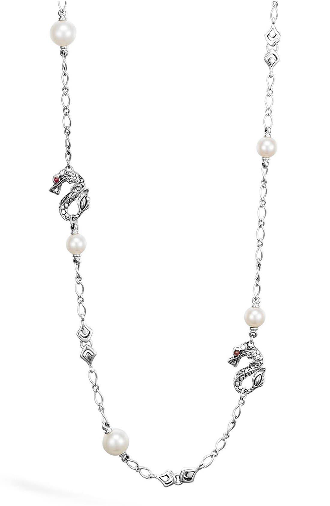 'Naga' Dragon & Pearl Station Necklace,                         Main,                         color, Silver