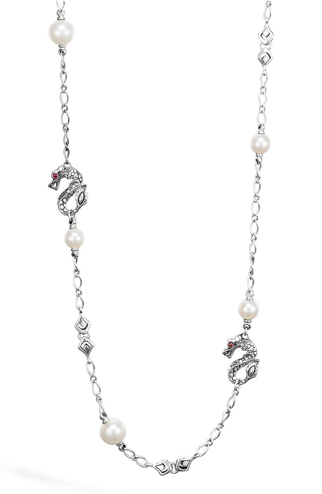 John Hardy 'Naga' Dragon & Pearl Station Necklace