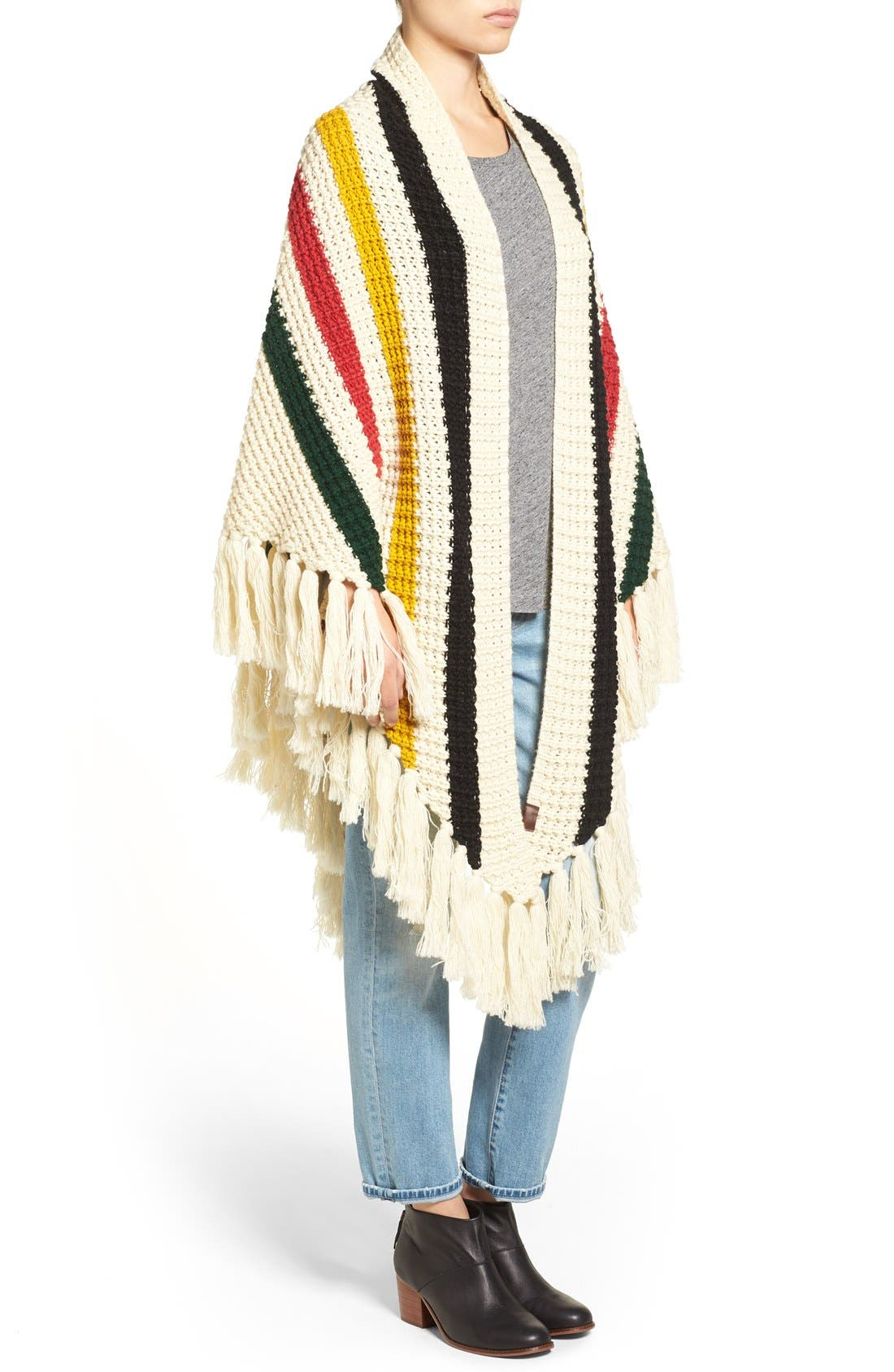 Alternate Image 3  - Pendleton Stripe Chunky Fringe Wrap