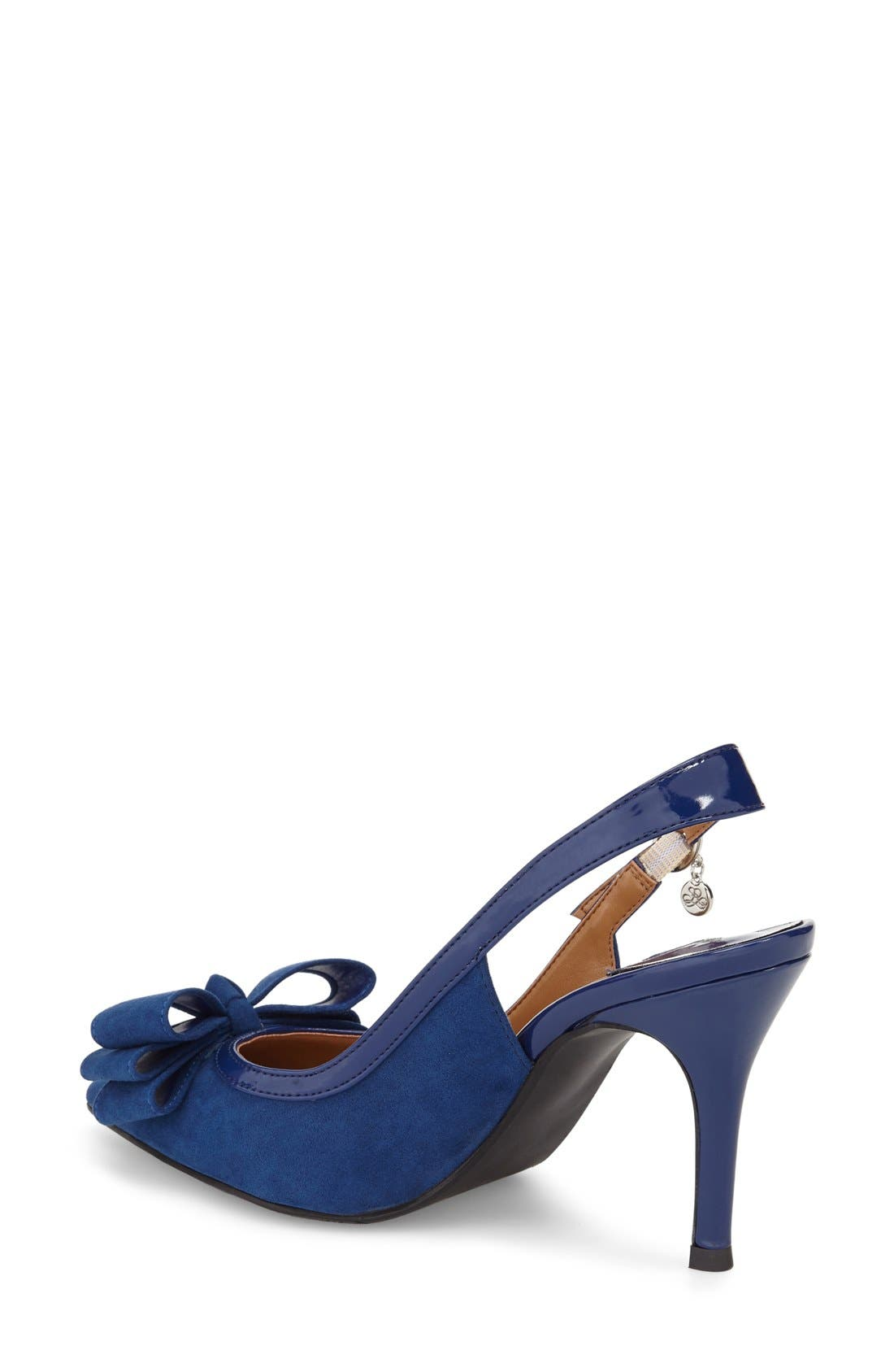 Charis Slingback Bow Pump,                             Alternate thumbnail 2, color,                             Imperial Blue Faux Suede