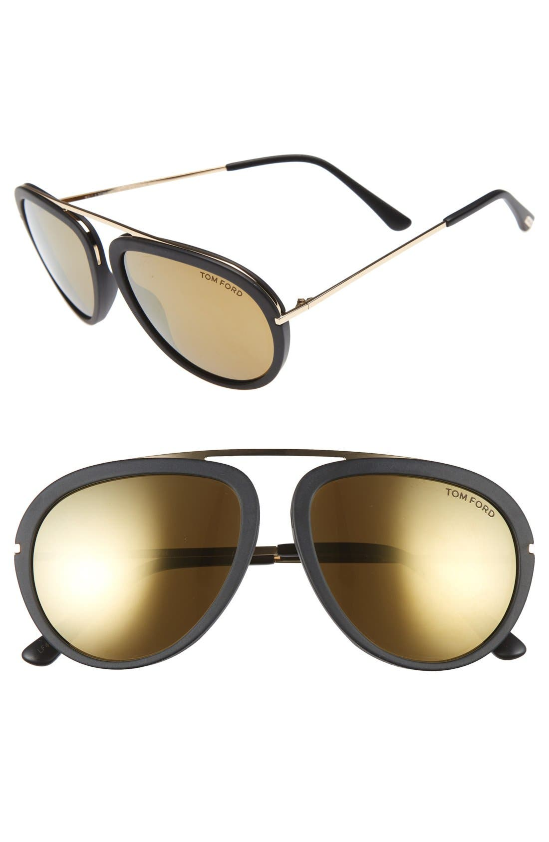 'Stacy' 57mm Sunglasses,                             Main thumbnail 1, color,                             Black/ Super Bronze