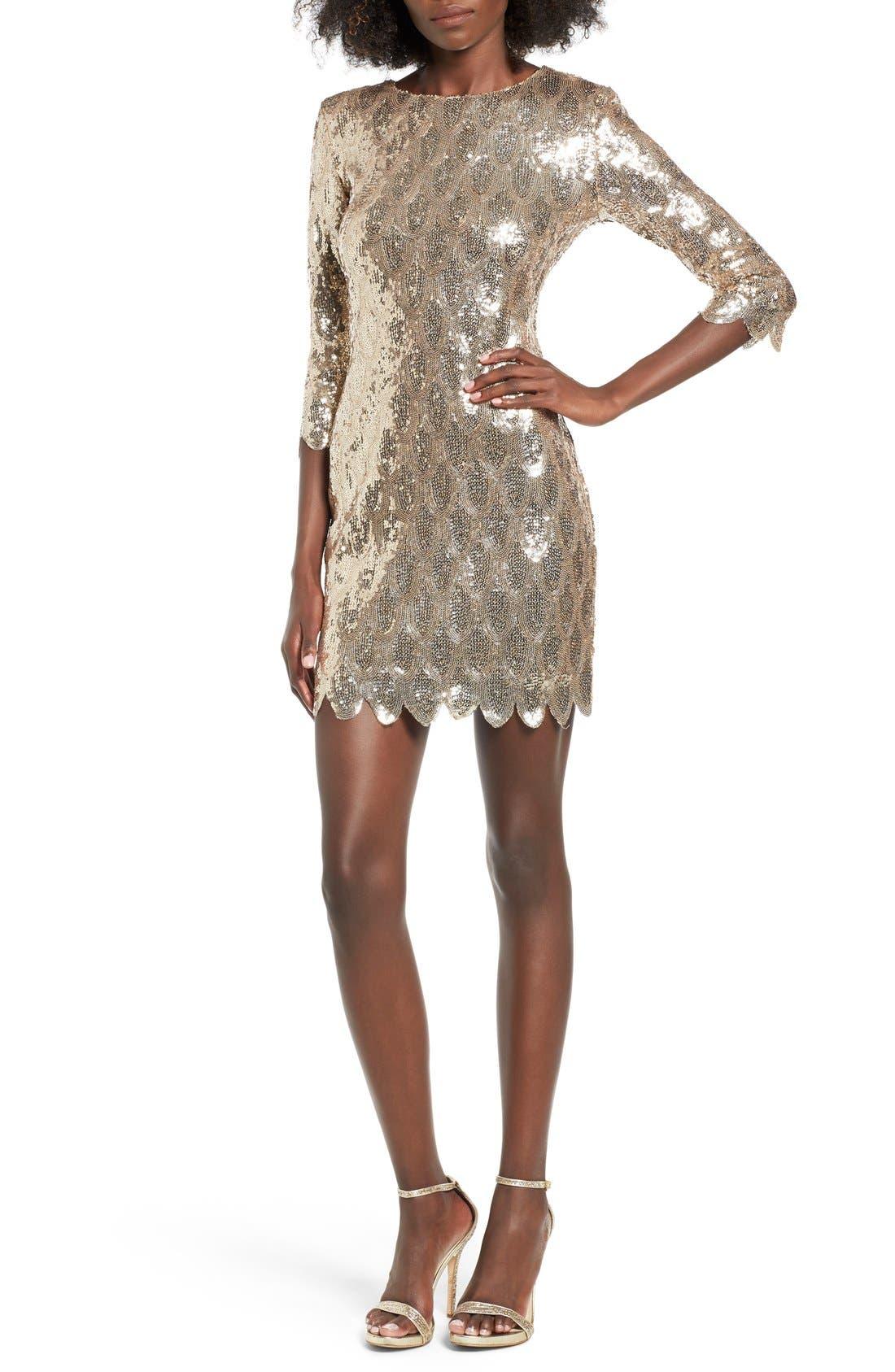 Main Image - TFNC Paris Scallop Hem Sequin Dress