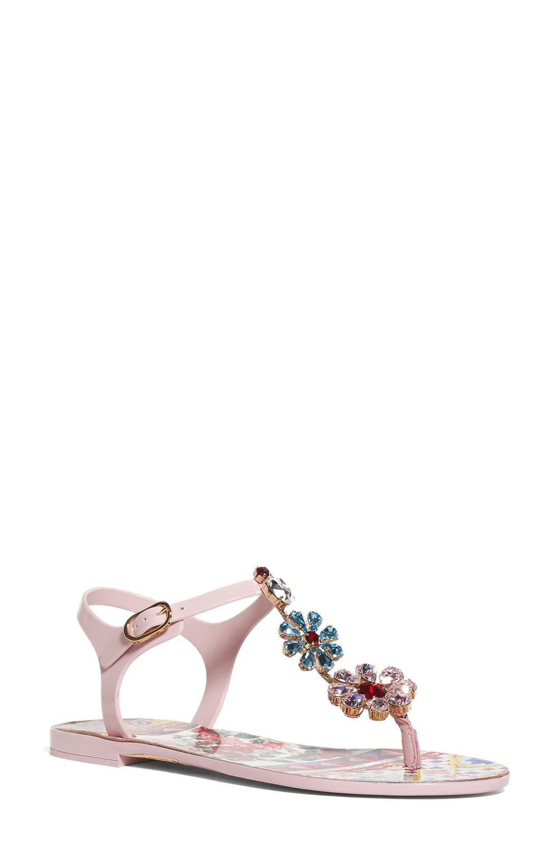 Alternate Image 1 Selected - Dolce&Gabbana Carretto Embellished Jelly Sandal (Women)