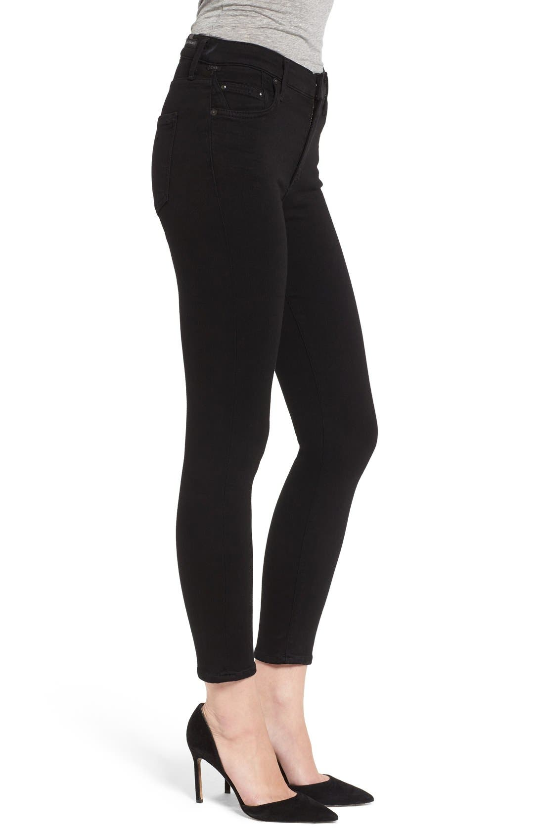 Rocket High Rise Crop Skinny Jeans,                             Alternate thumbnail 3, color,                             All Black