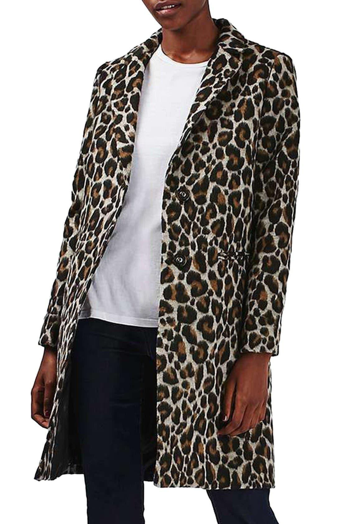 Alternate Image 1 Selected - Topshop Leopard Print Car Coat