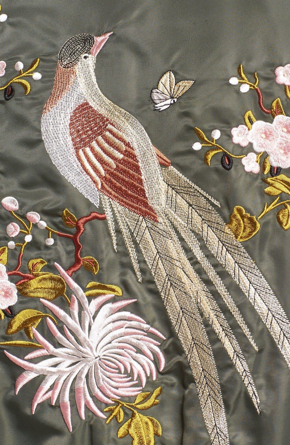 Alternate Image 5  - Glamorous Embroidered Satin Bomber Jacket