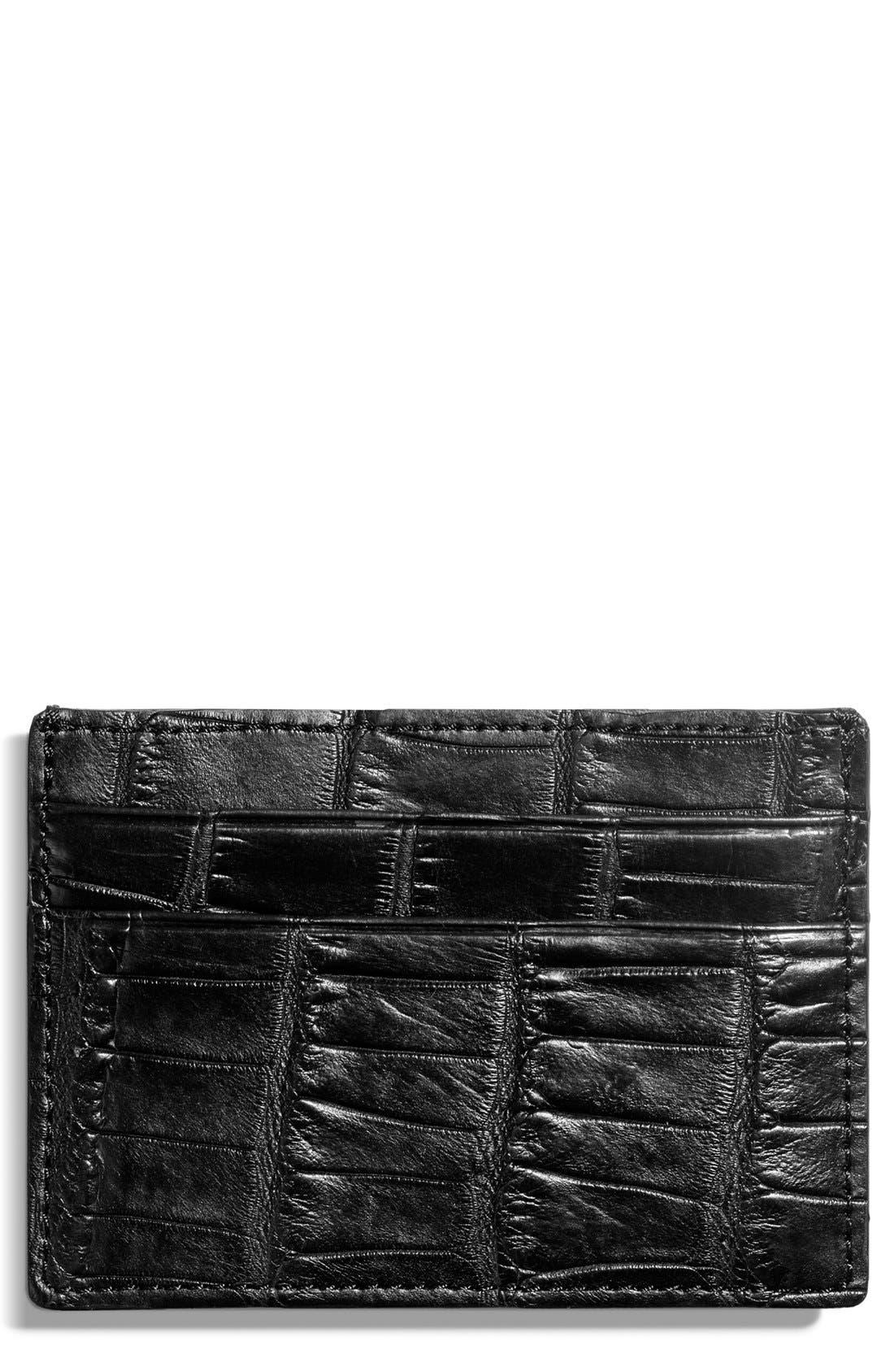 Alligator Leather Card Case,                             Alternate thumbnail 2, color,                             Black