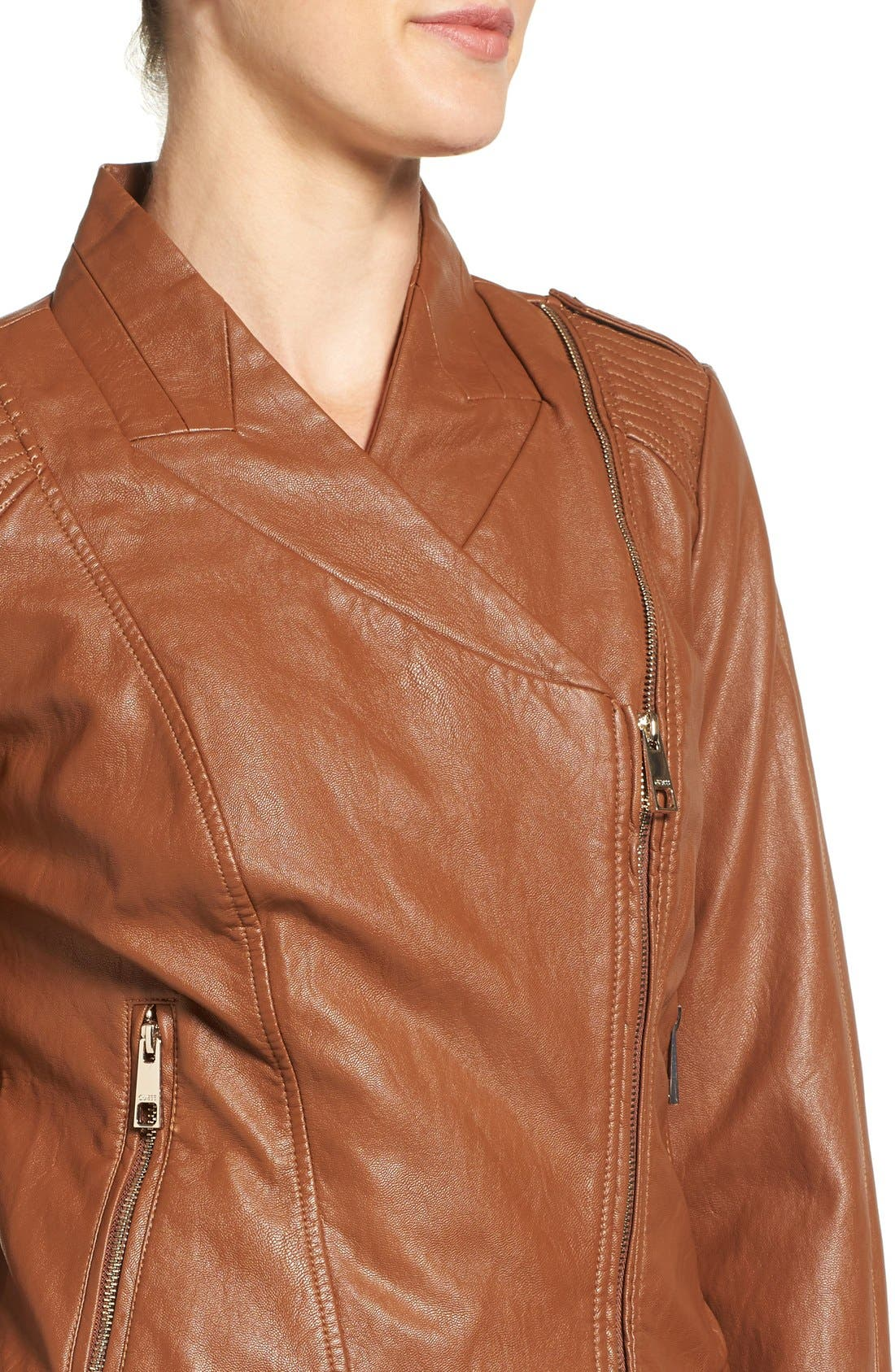 Alternate Image 4  - GUESS Faux Leather Moto Jacket (Regular & Petite)