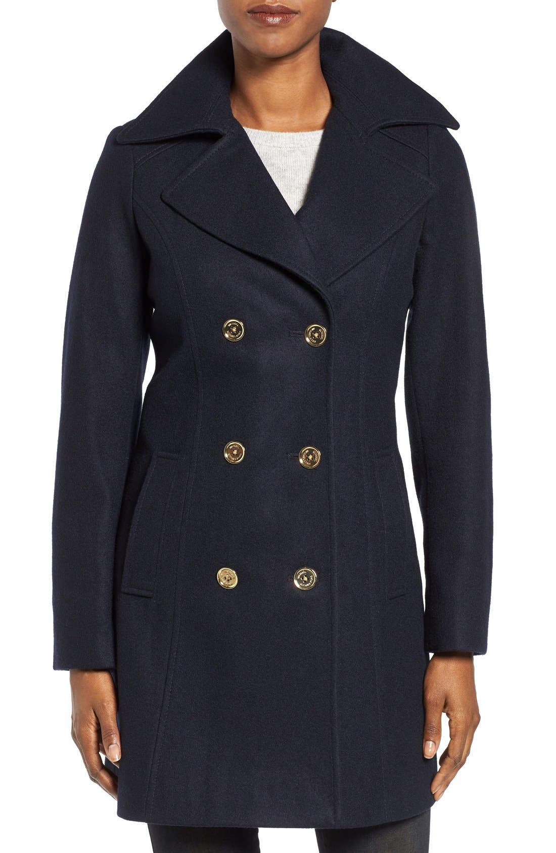 Alternate Image 1 Selected - MICHAEL Michael Kors Long Double Breasted Peacoat