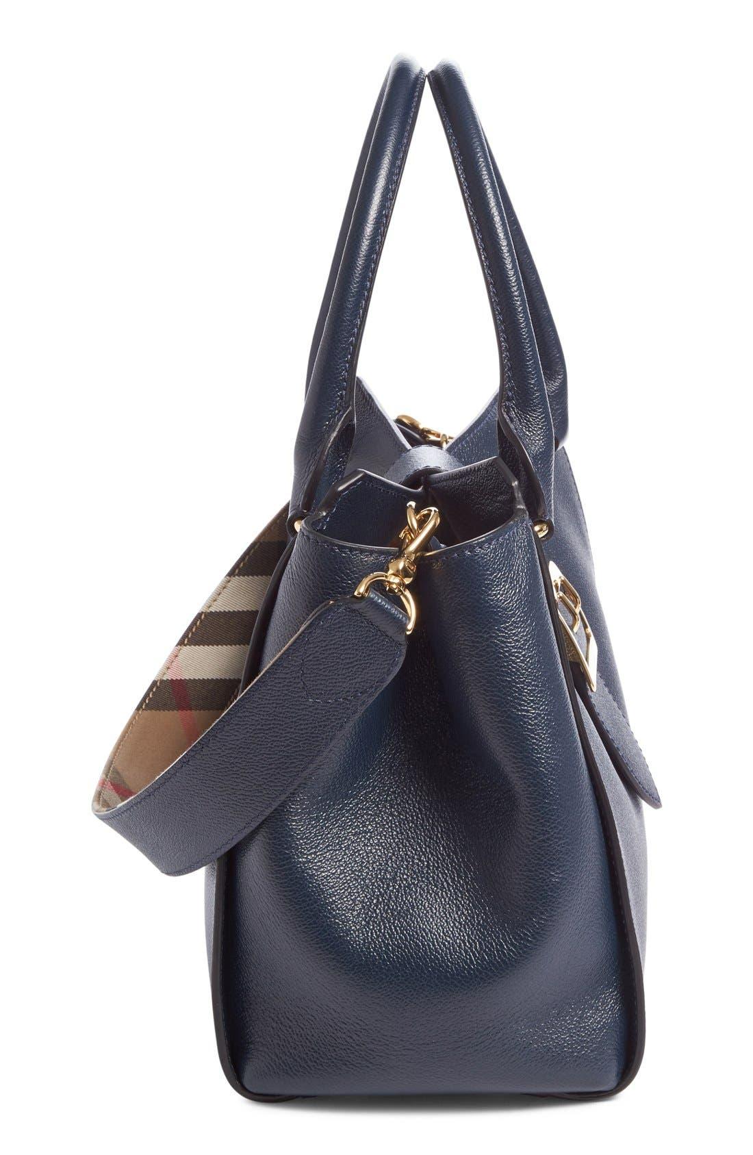 Medium Buckle Calfskin Leather Tote,                             Alternate thumbnail 5, color,                             Blue Carbon