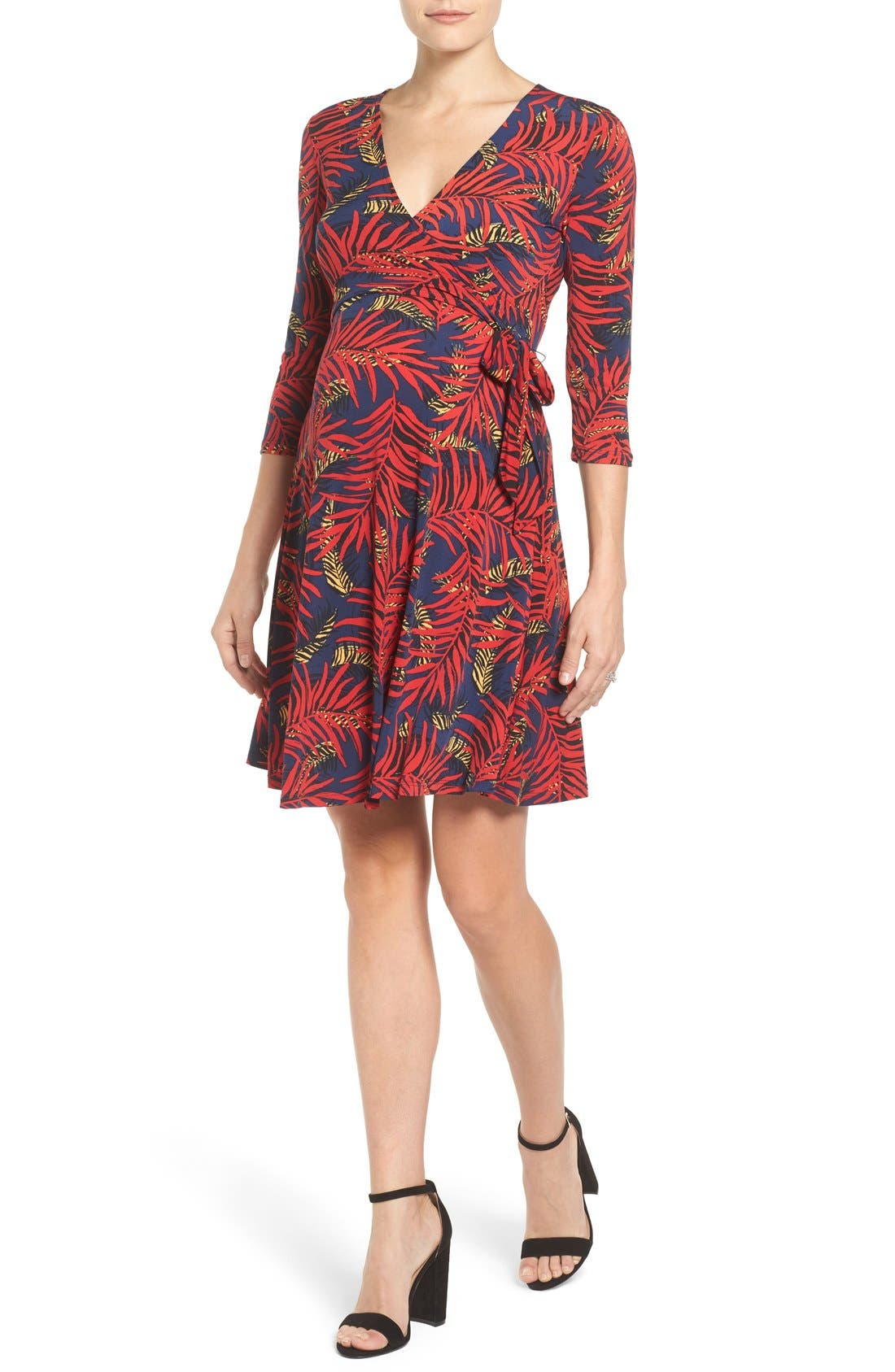 'Perfect Wrap' Maternity Dress,                         Main,                         color, Palm