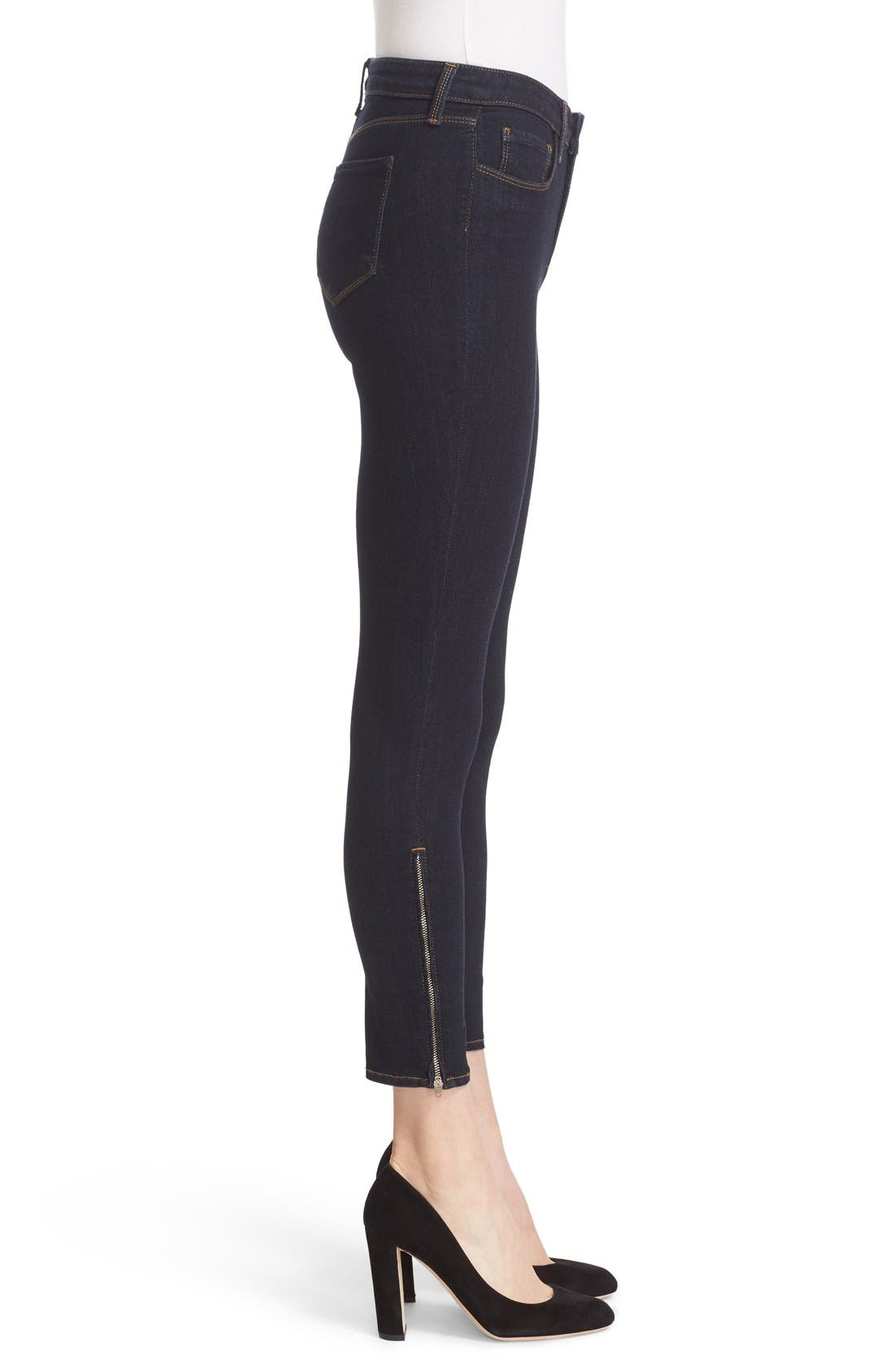 'Andrea' Ankle Zip Skinny Jeans,                             Alternate thumbnail 3, color,                             Midnight