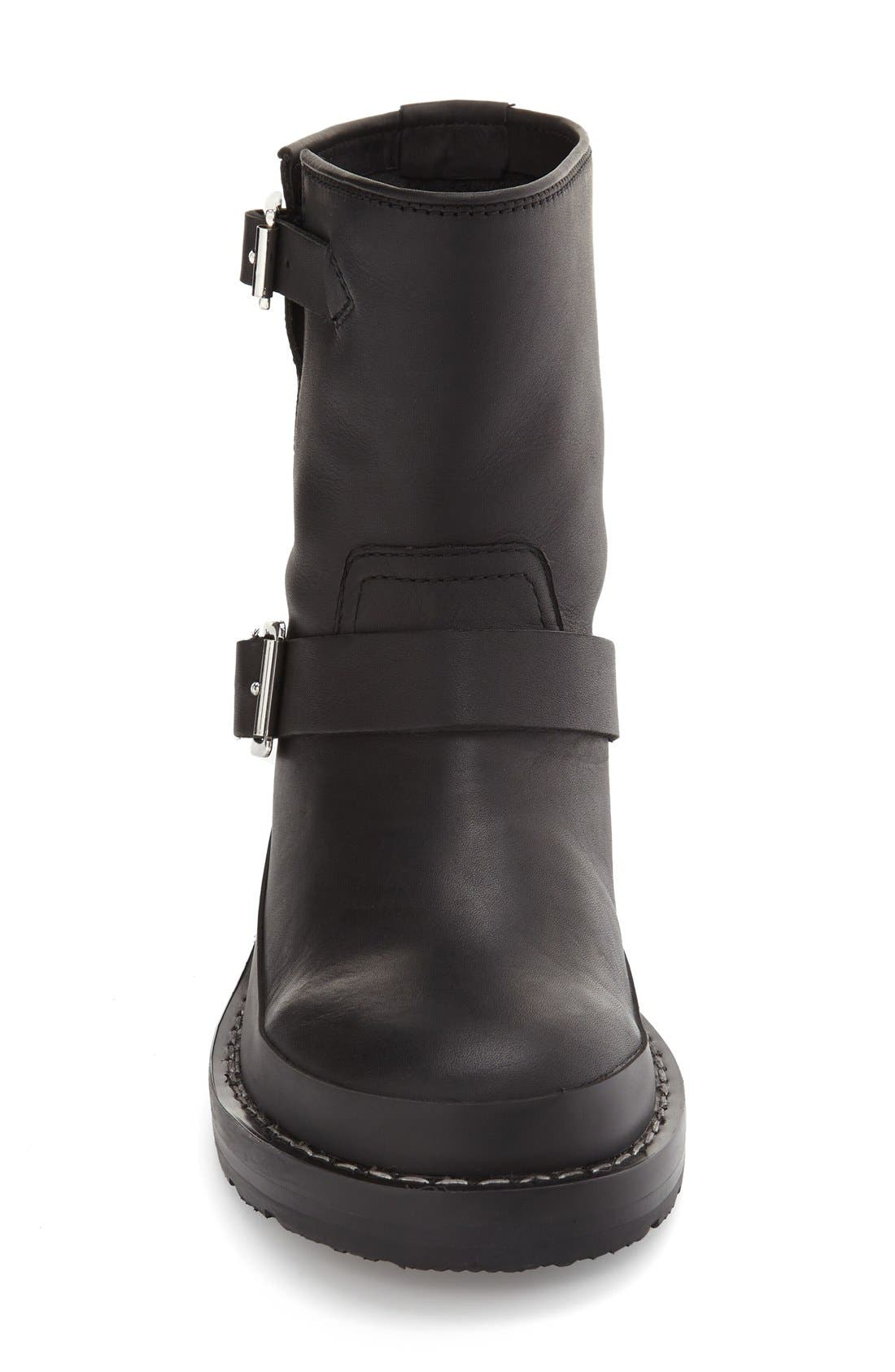 Original Biker Water Resistant Boot,                             Alternate thumbnail 3, color,                             Black Leather